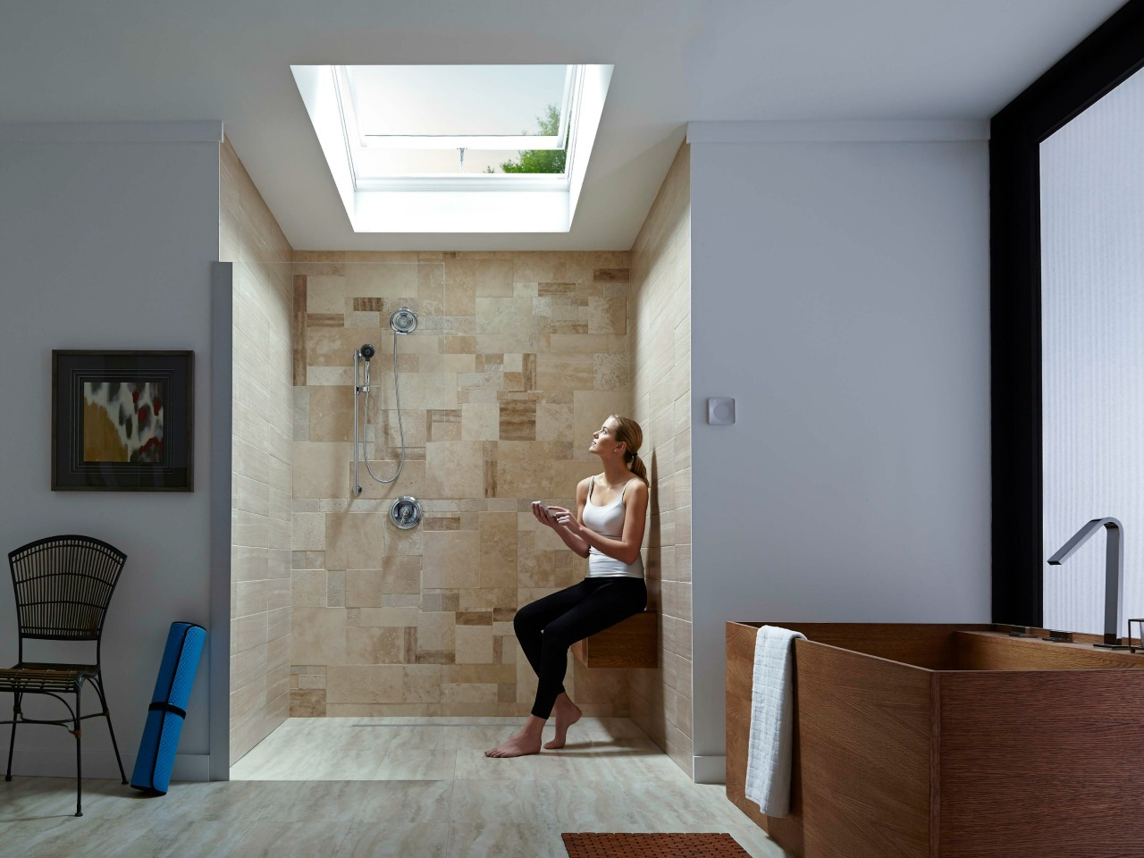 28 Bathroom Skylight Venting Wooden Tub 0839