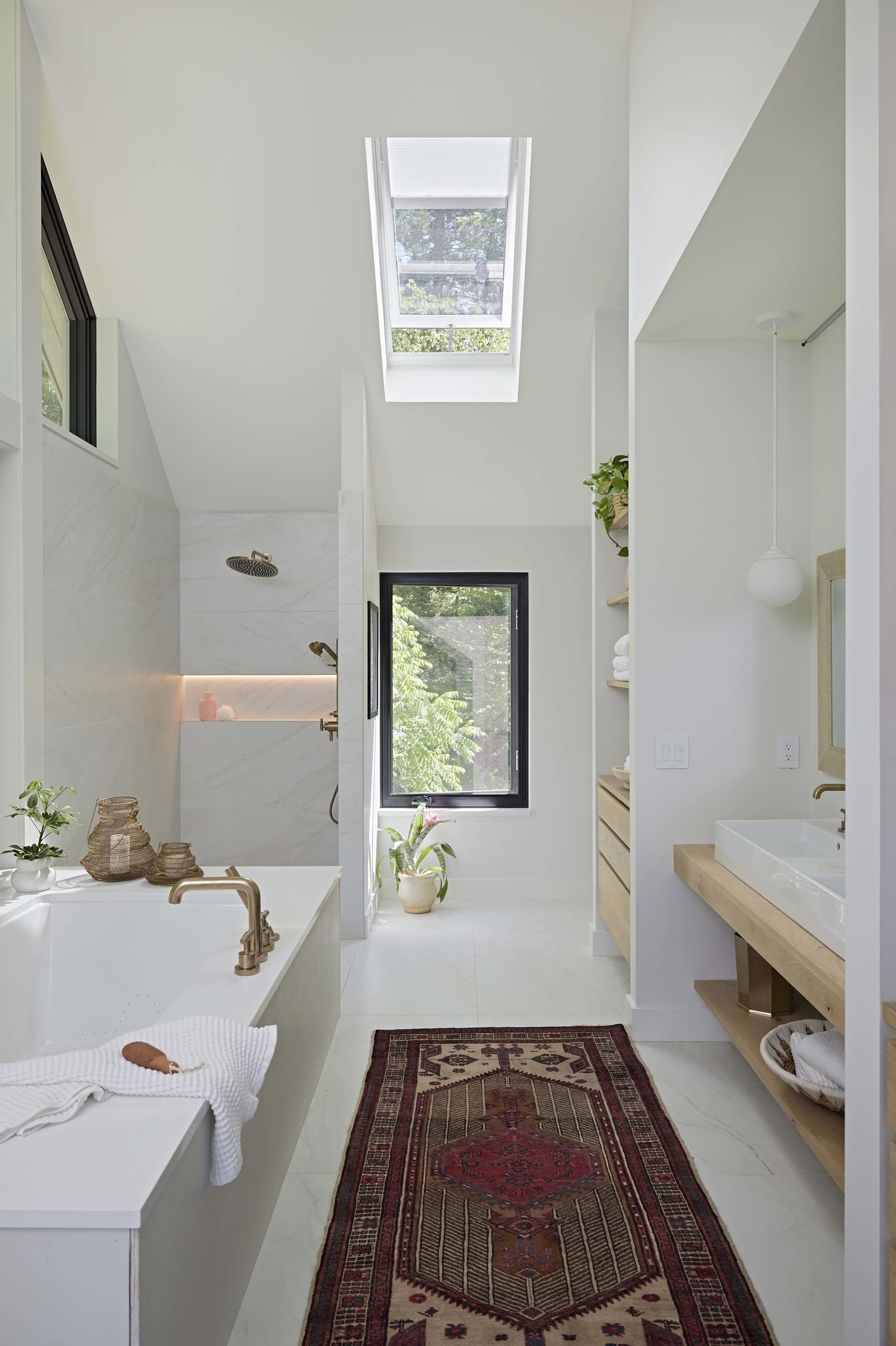 Bathroom skylight vintage rug bathtub shower