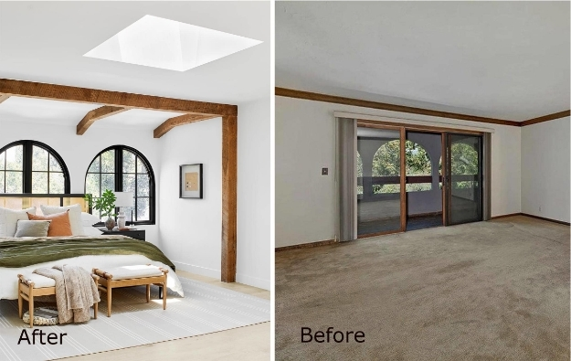 Bedroom before and after skylight