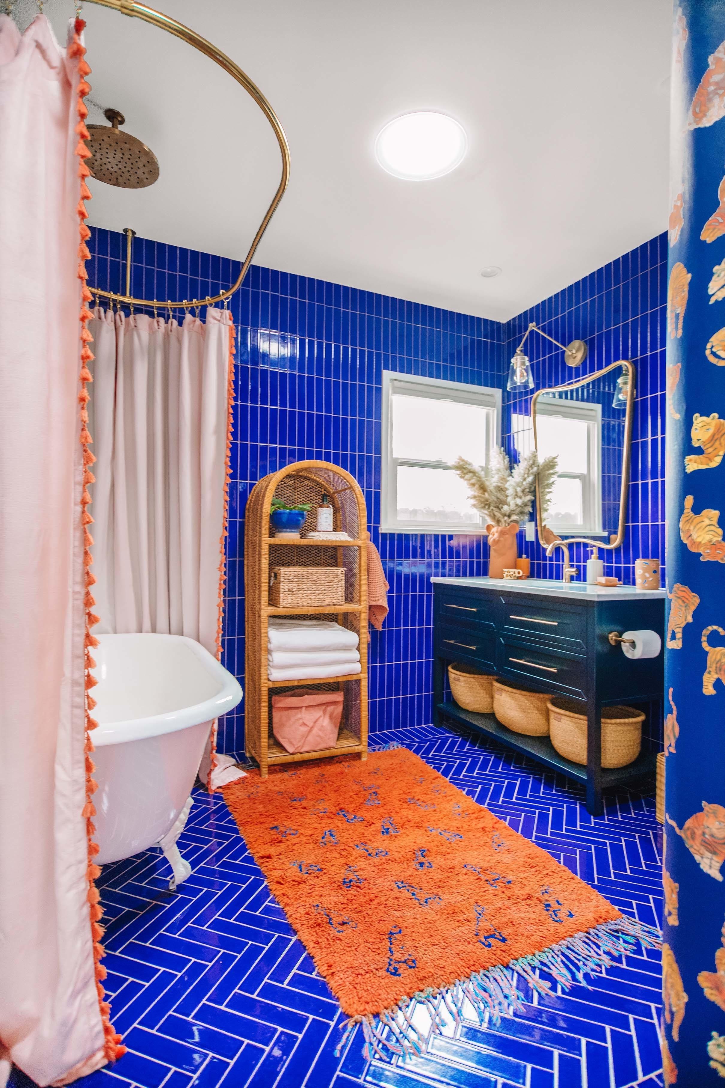 Blue and Terracotta Guest Bathroom Sun tunnel skylights