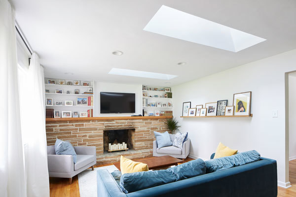 Blue Sofa Living Room Two Skylights Tmb