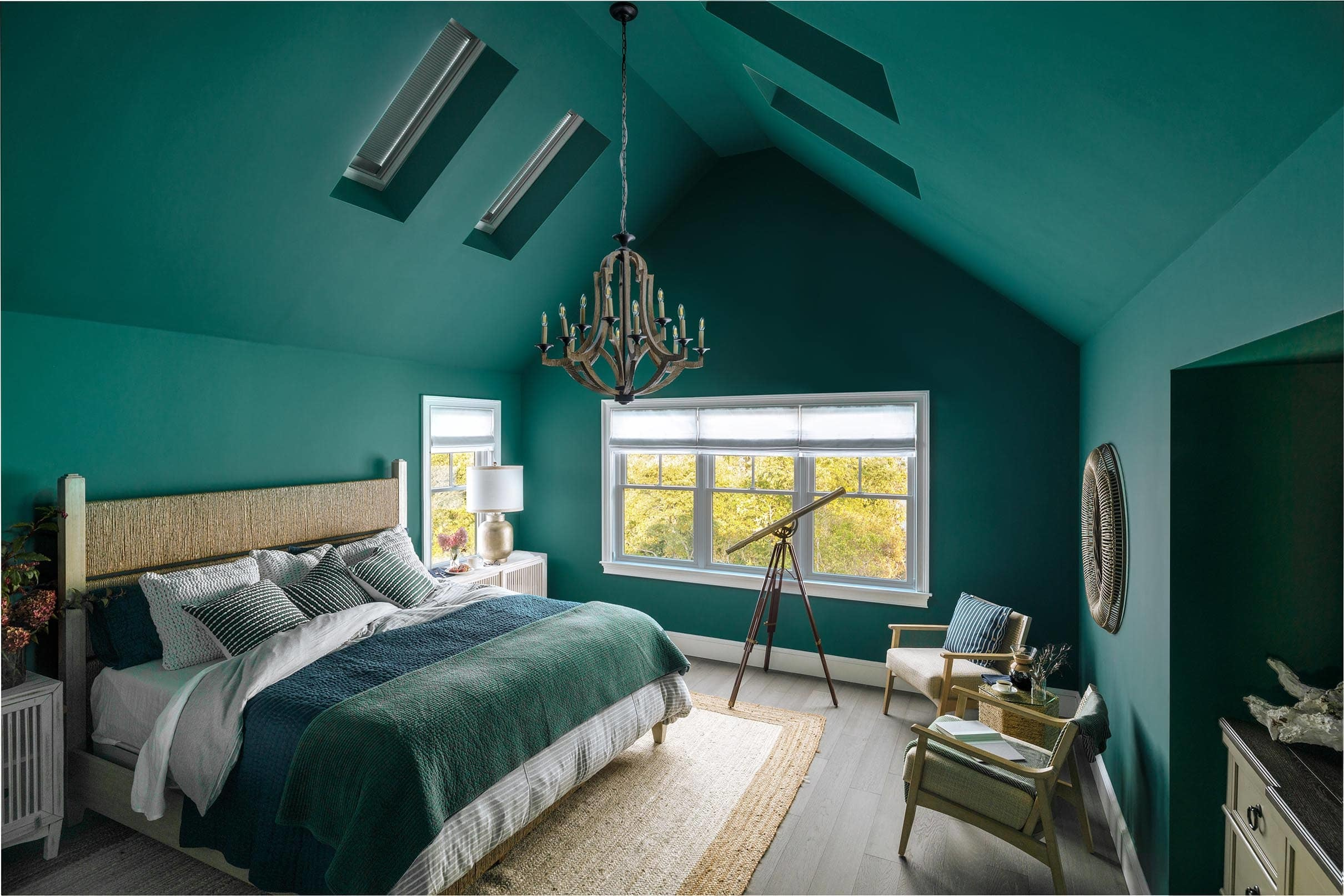 Green bedroom skylights blinds closed