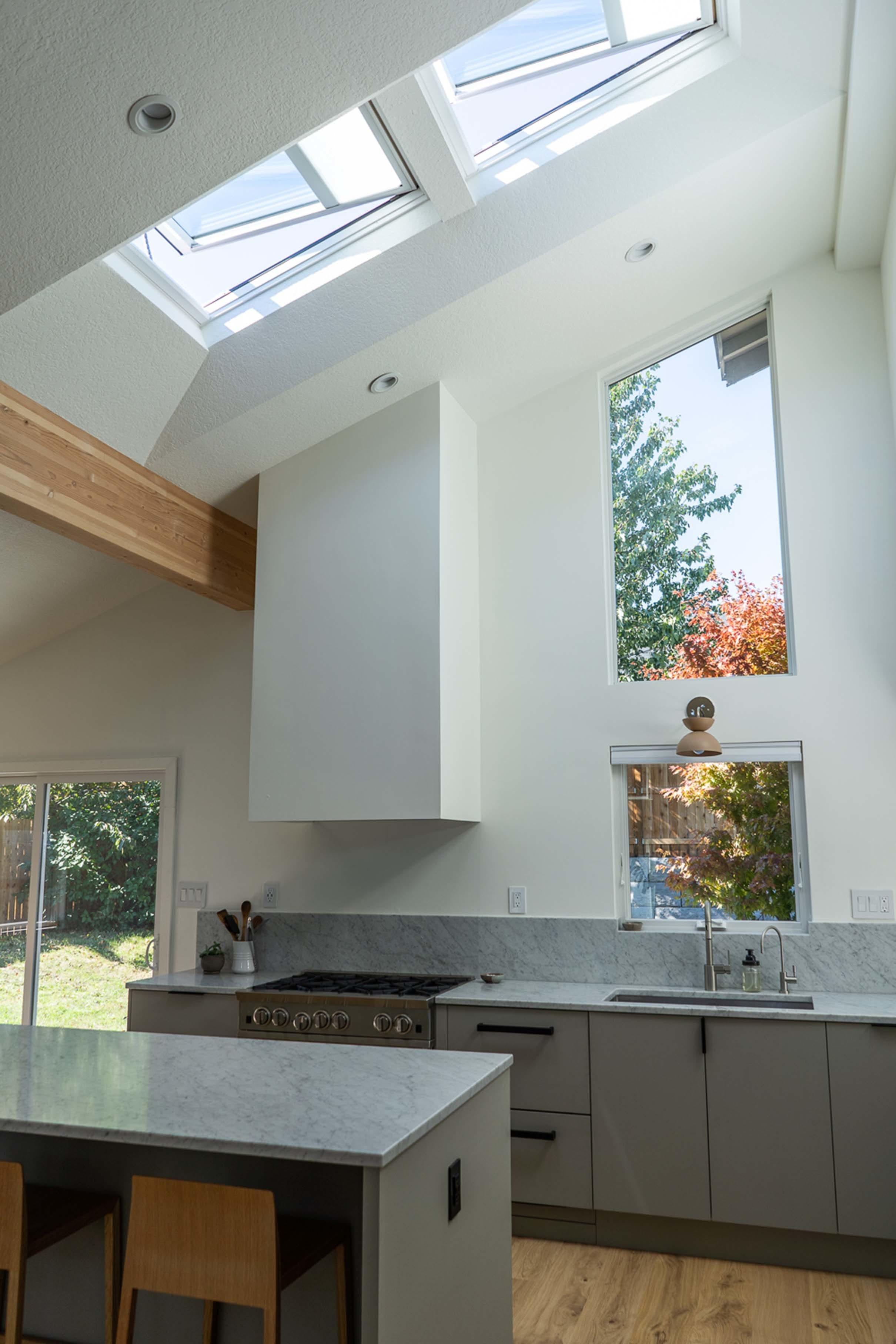 Kitchen skylights angled