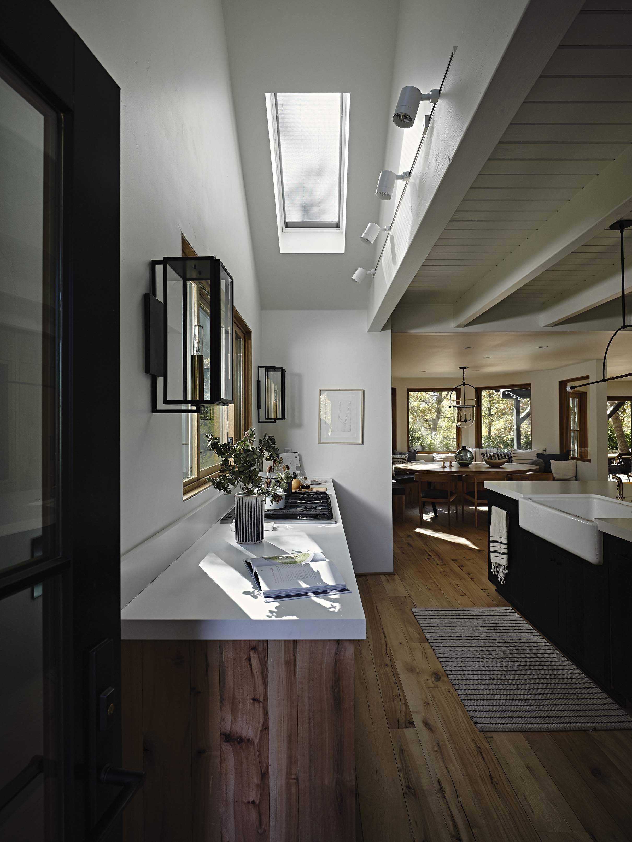 Kitchen with skylight light filtering shade