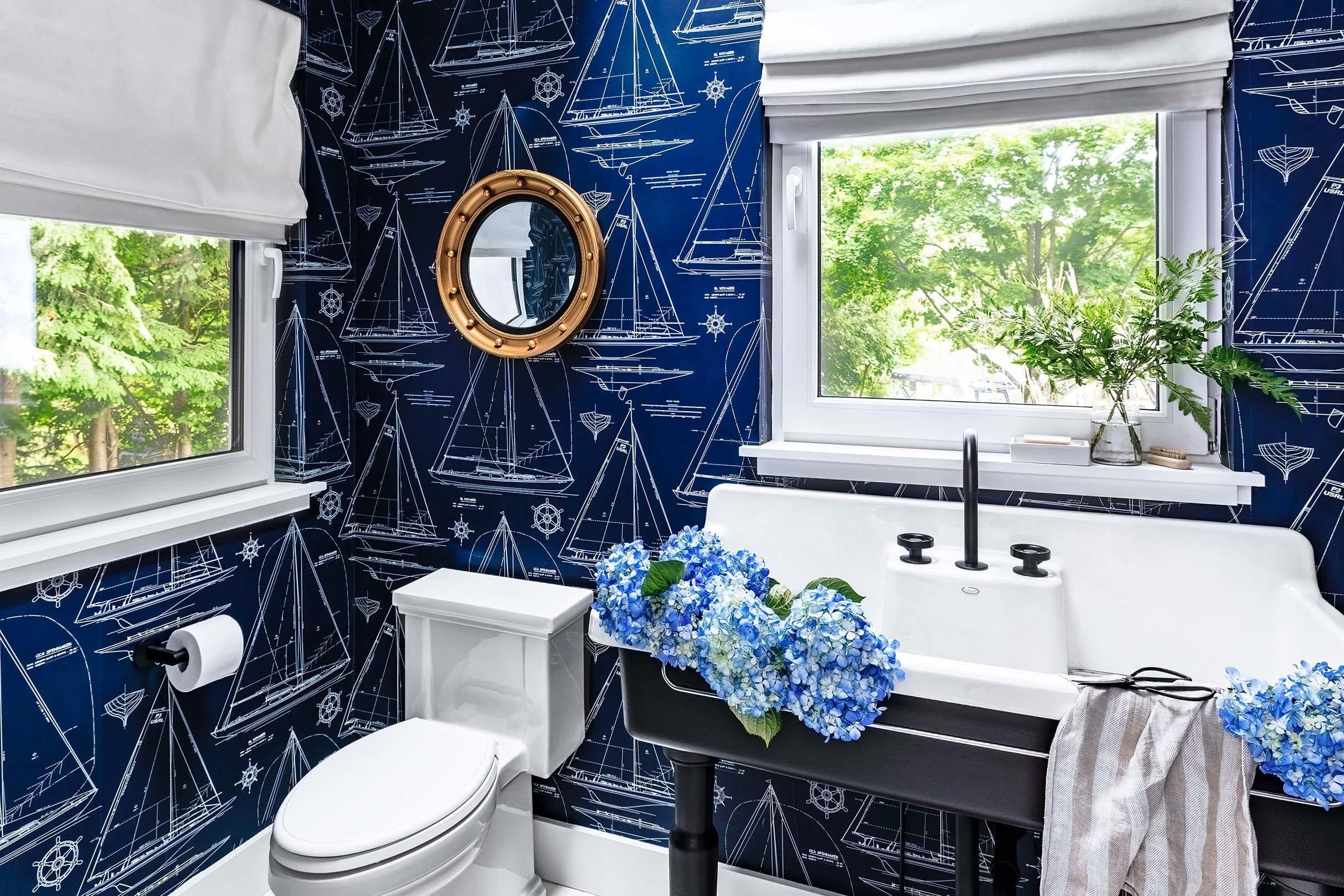 Nautical themed bathroom with skylight small