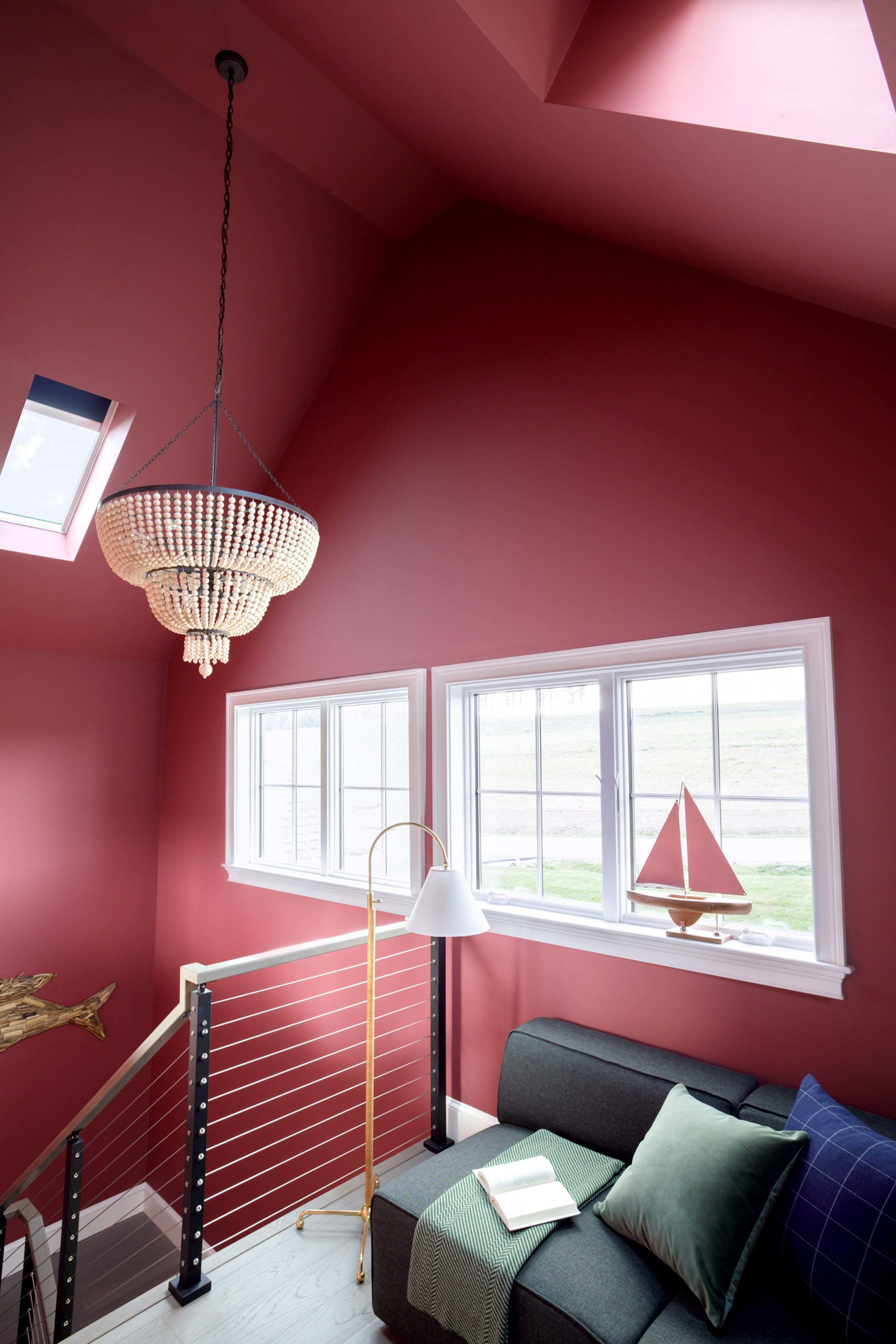 Red stairwell skylights