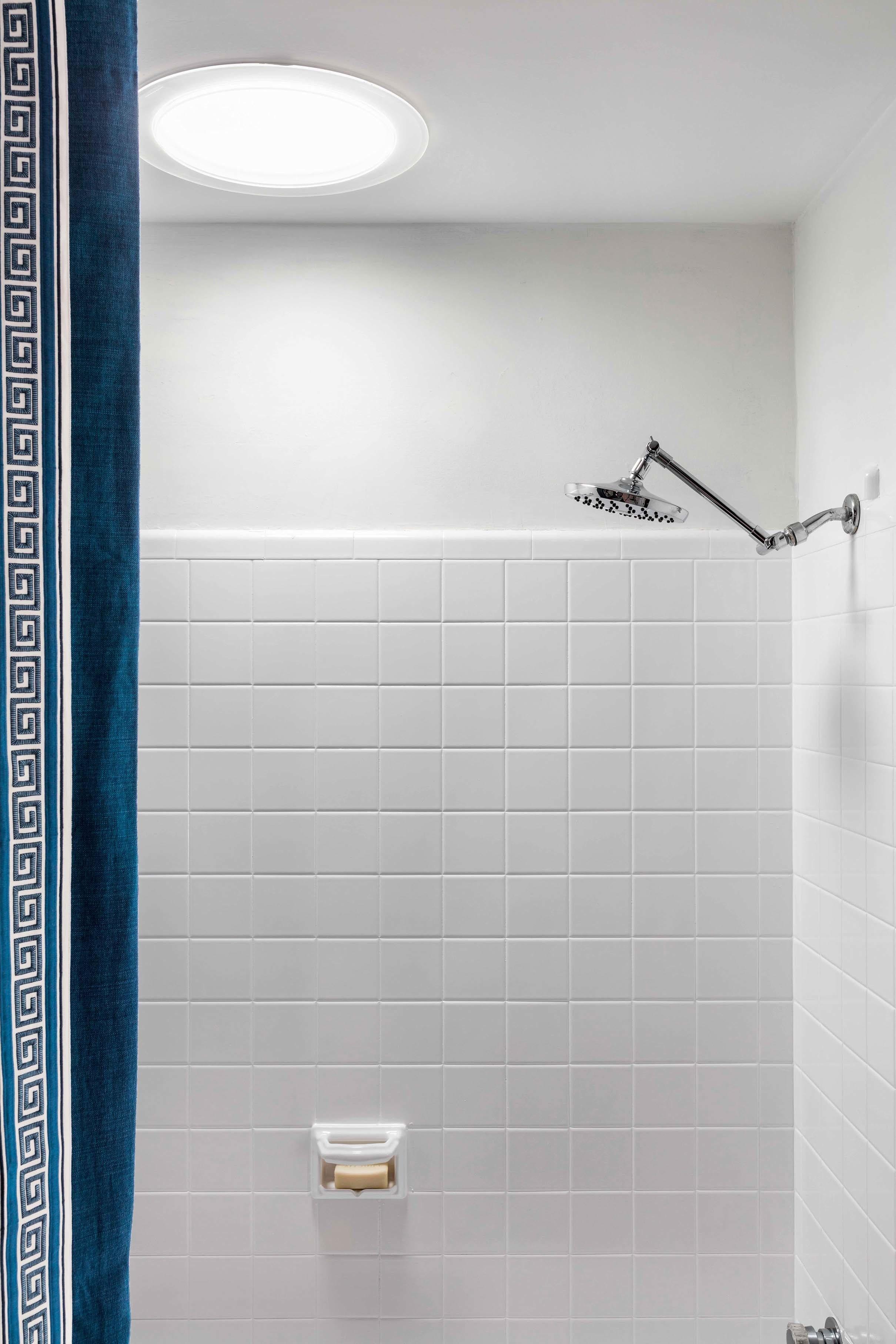 shower white tile sun tunnel skylight chrome fixture