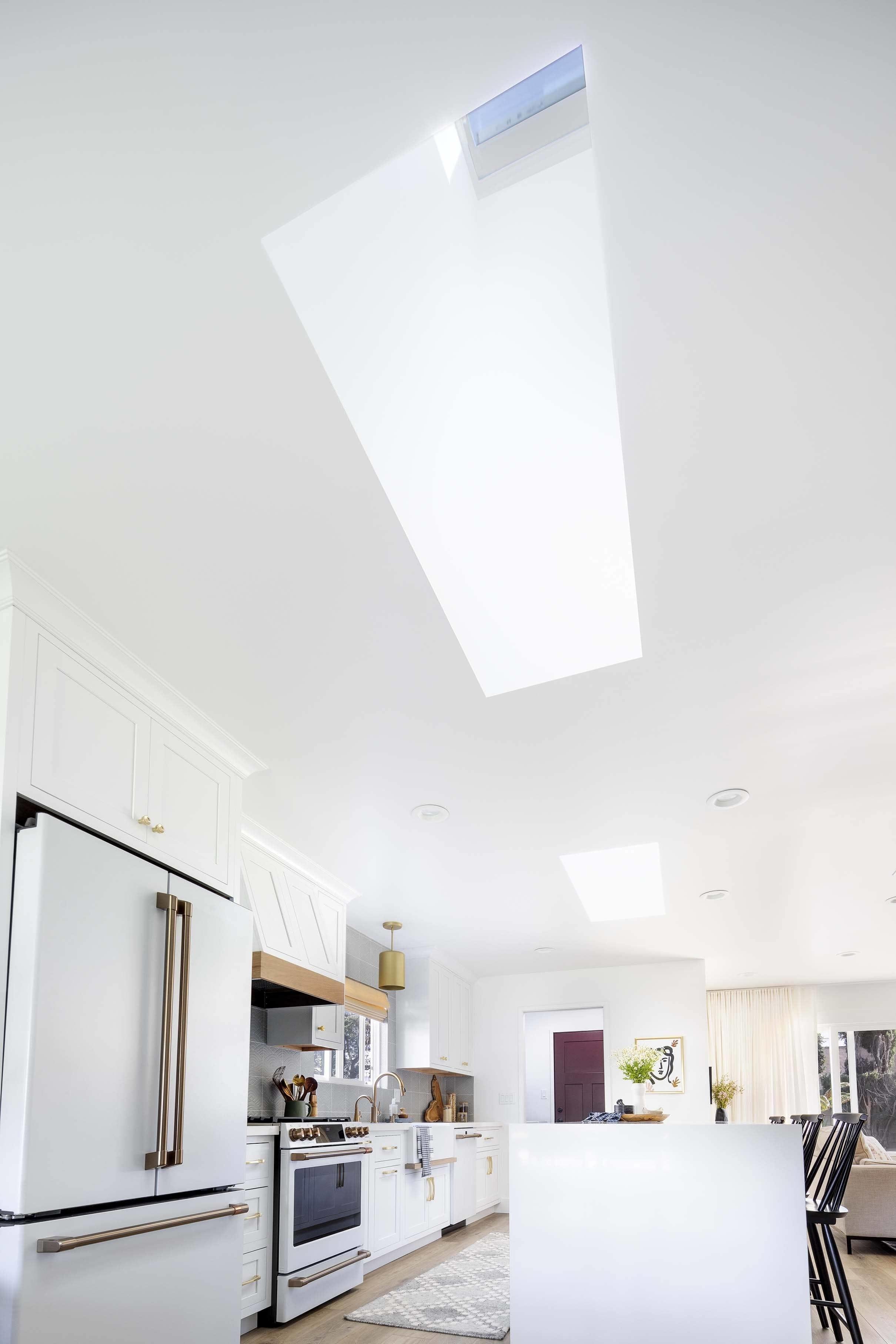 Skylight in white kitchen