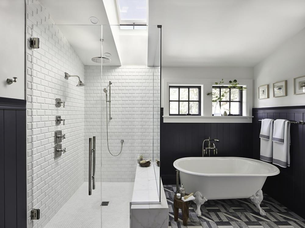 Blue white and grey bathroom skylight over shower
