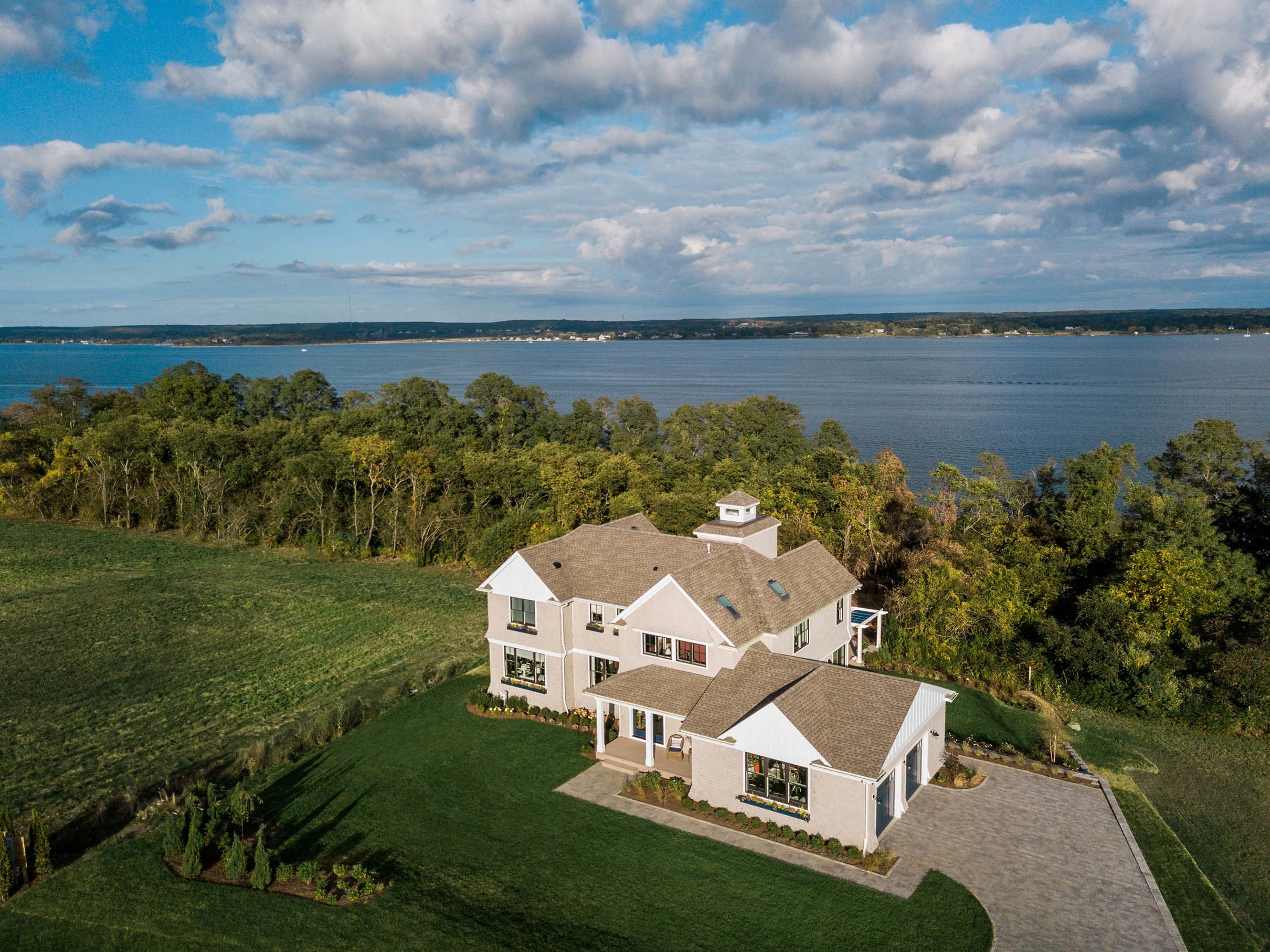 aerial view waterfront home