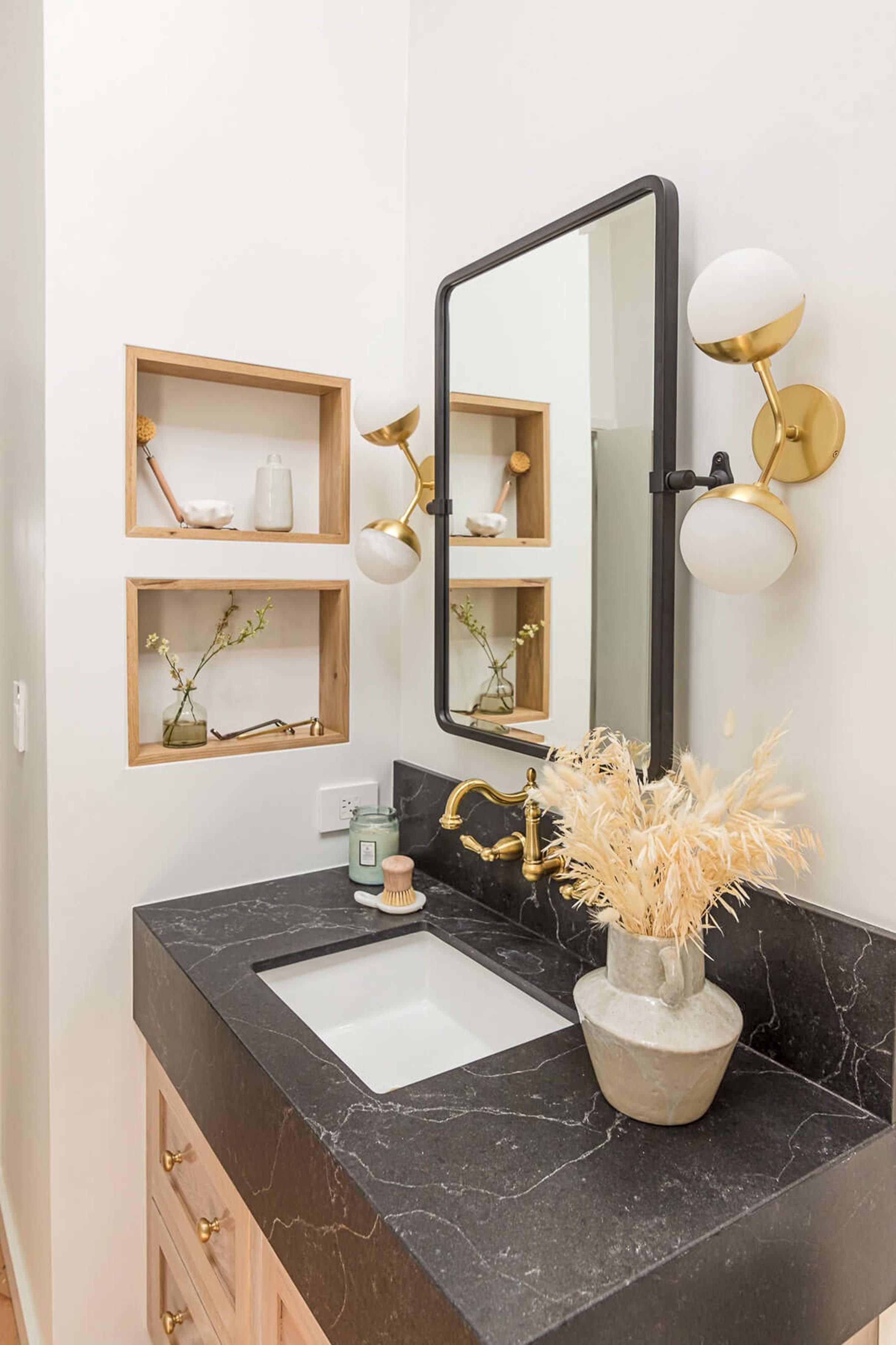 Bathroom black quartz wanity brass fixture
