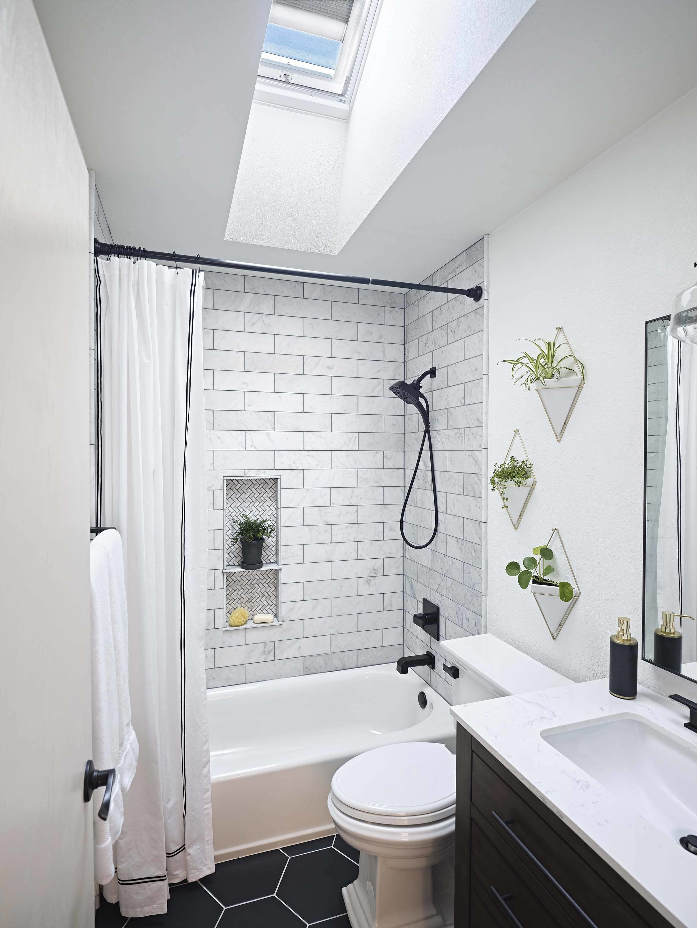 Bathroom black white skylight plants