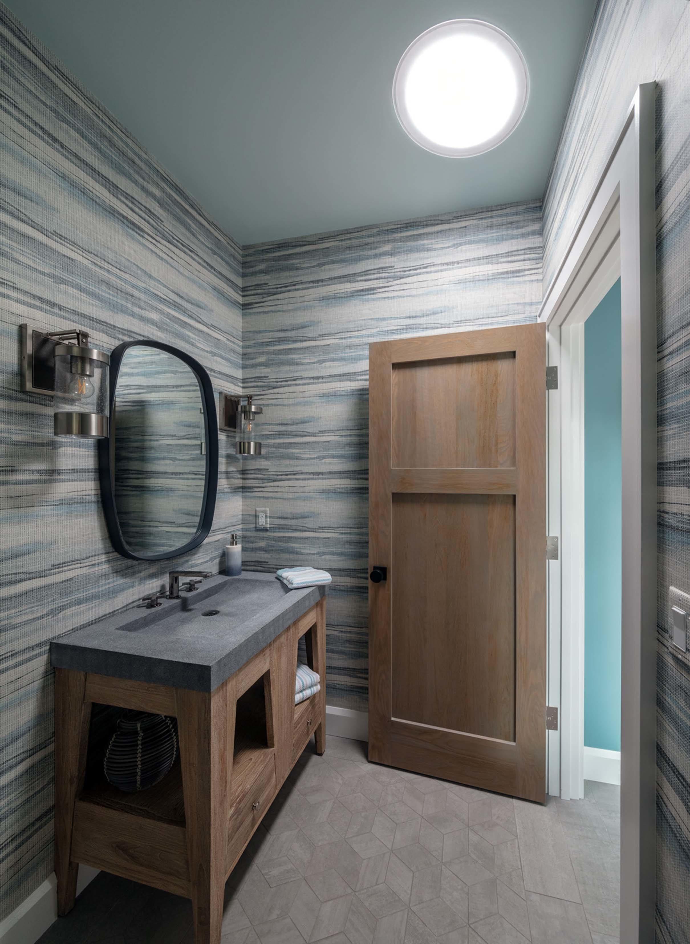 Bathroom blue grey sun tunnel skylight