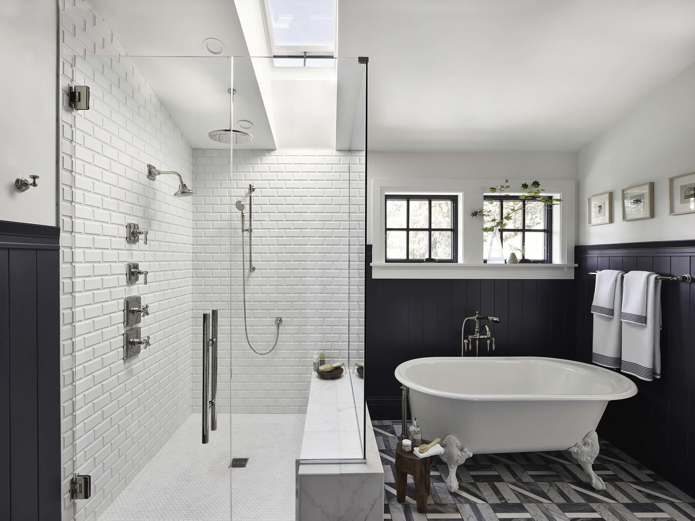 Bathroom shower skylight blue white tub