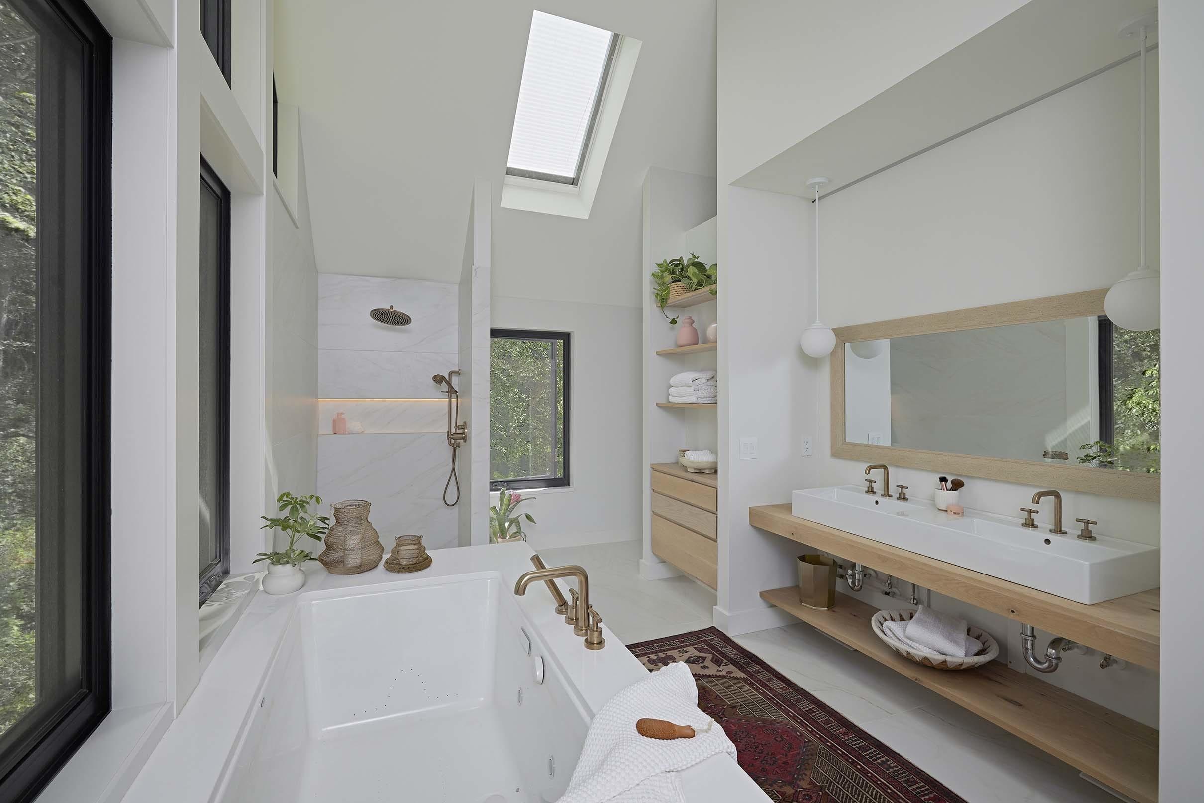 Bathroom skylight shades bathtub vanity mirror