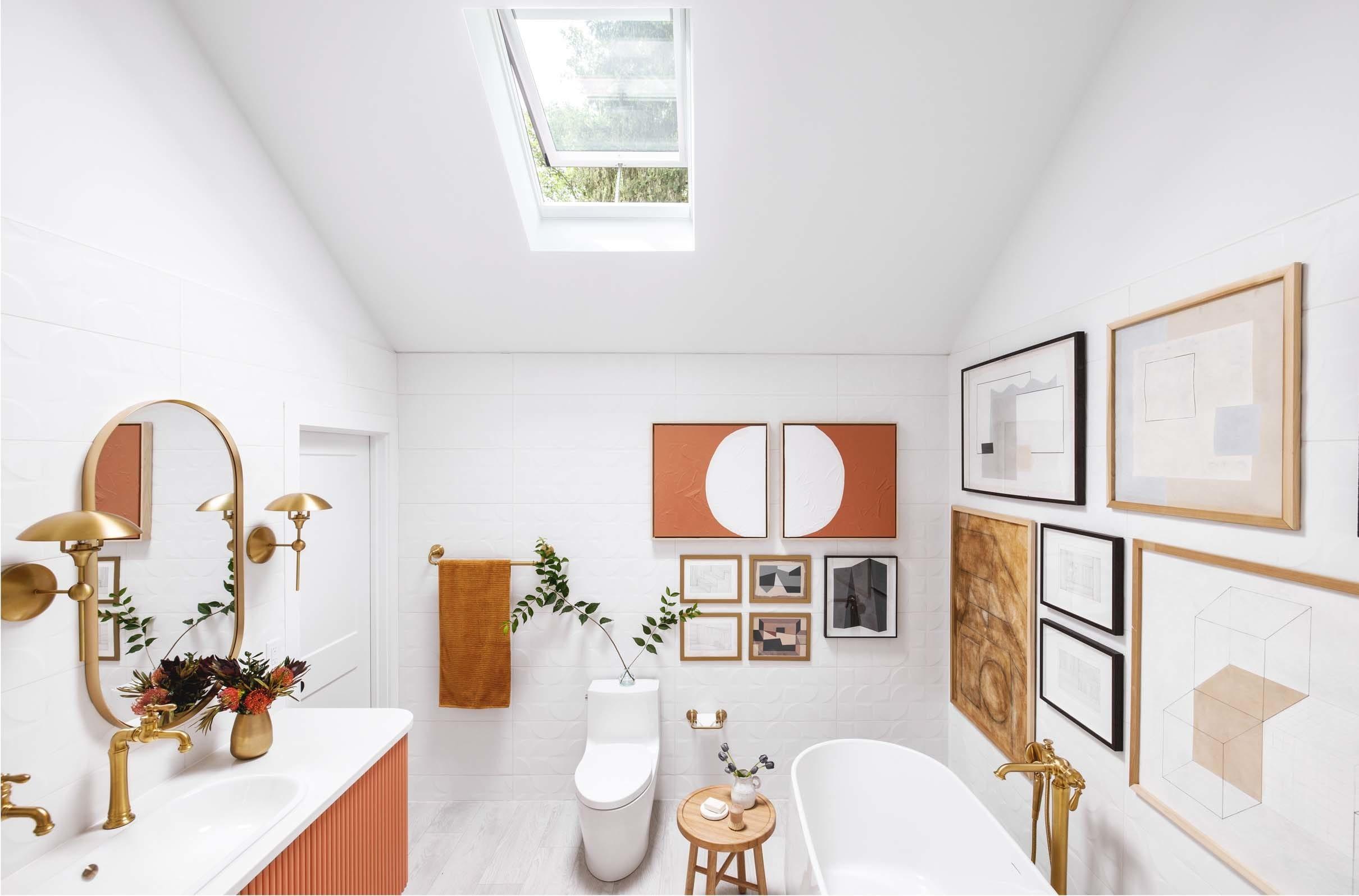 Bathroom skylight white terracotta