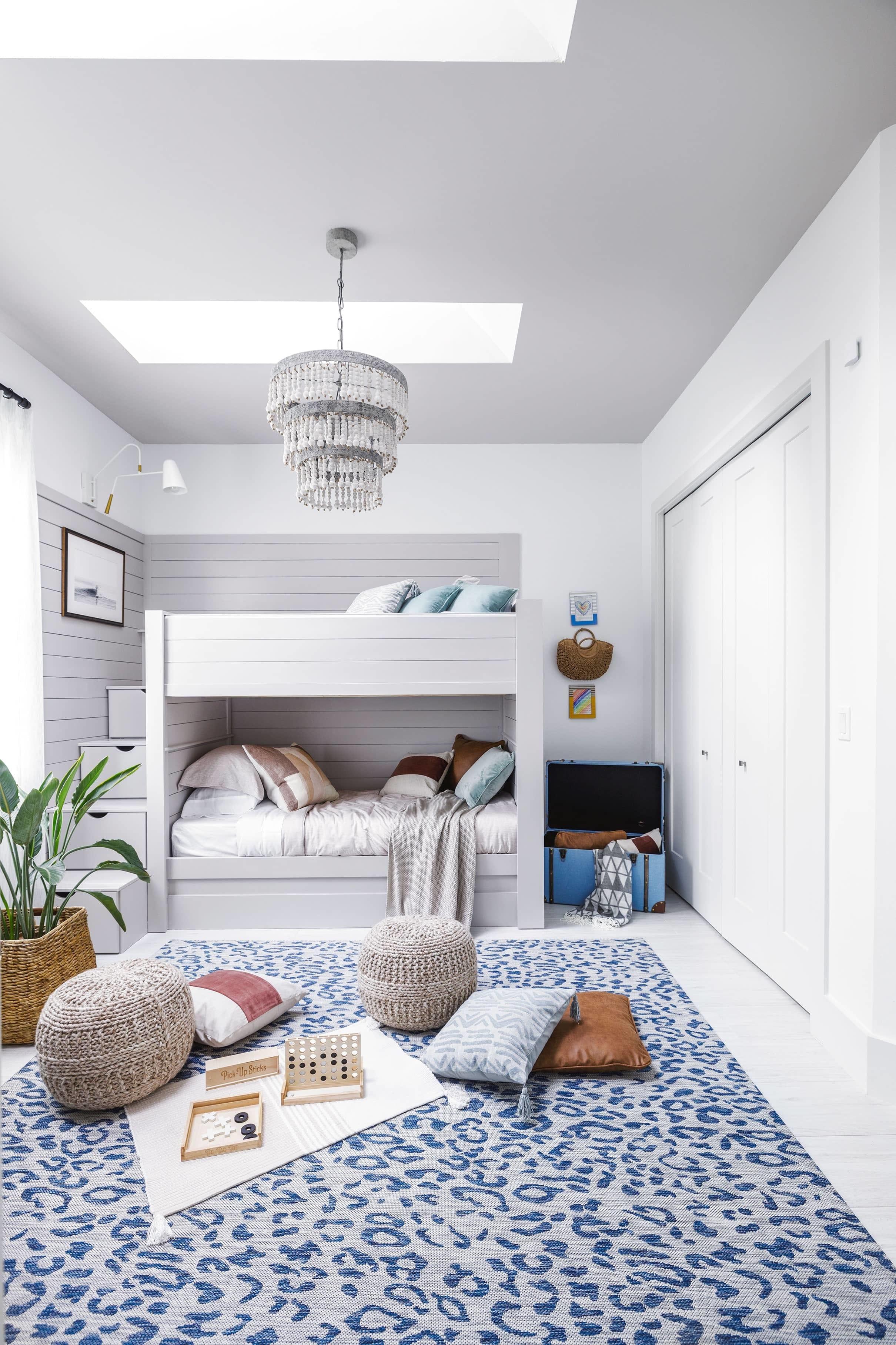 Bedroom bunk beds skylights blue white grey