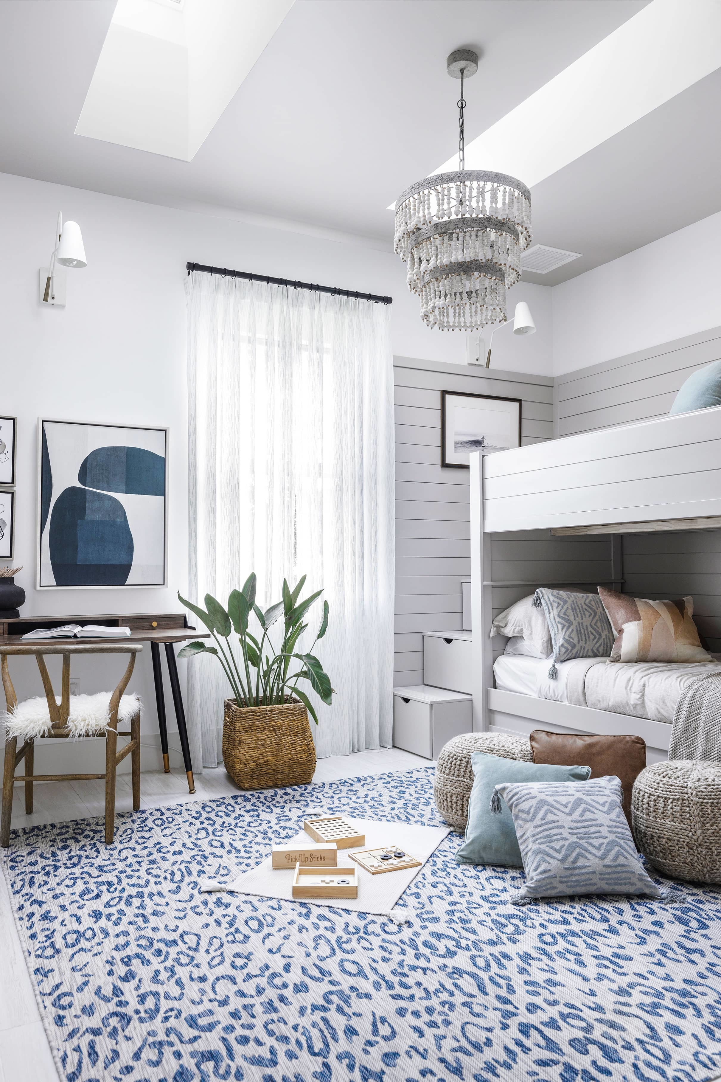 Bedroom bunk beds skylights blue white