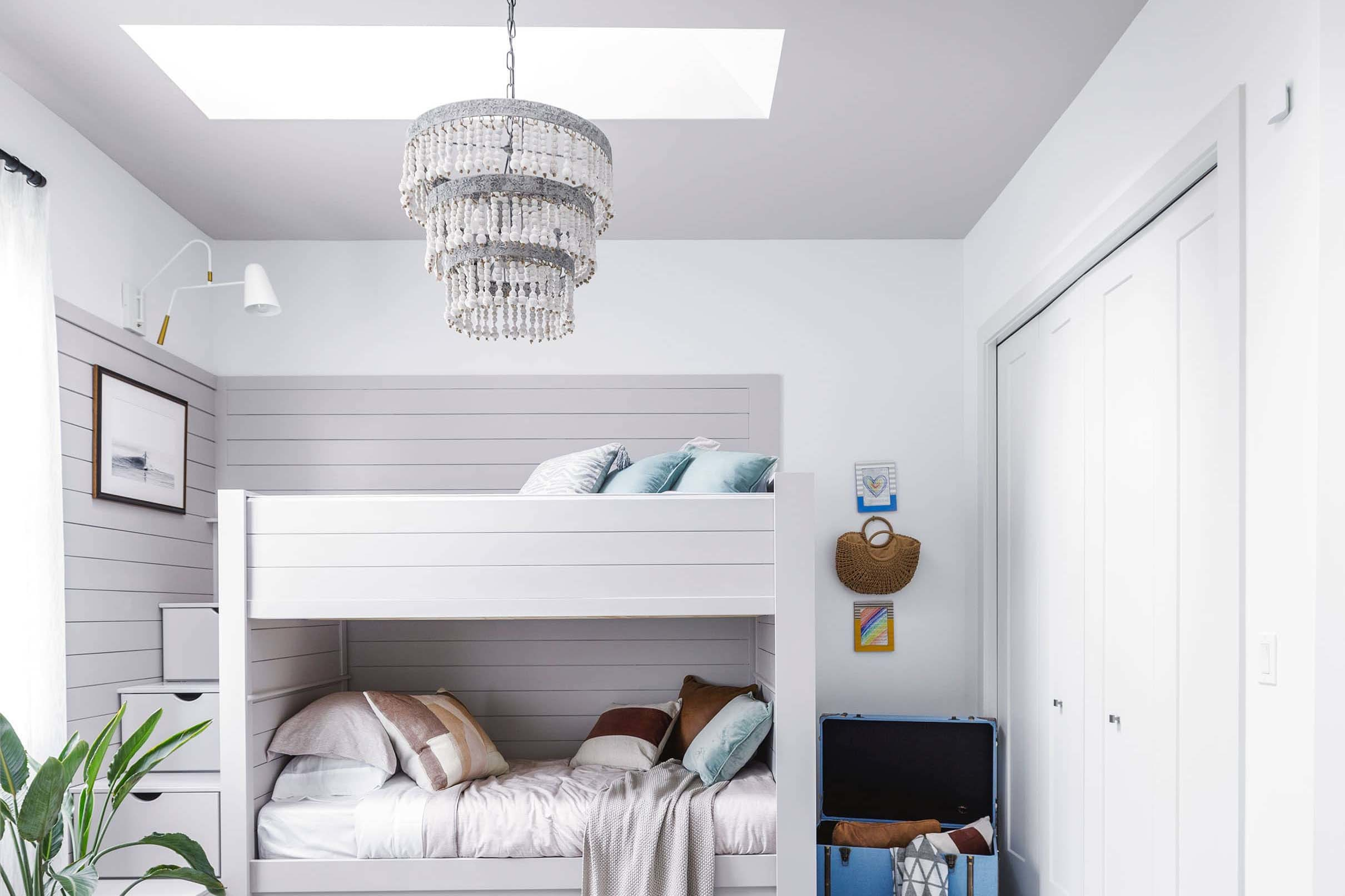 Bedroom bunk beds skylights grey white