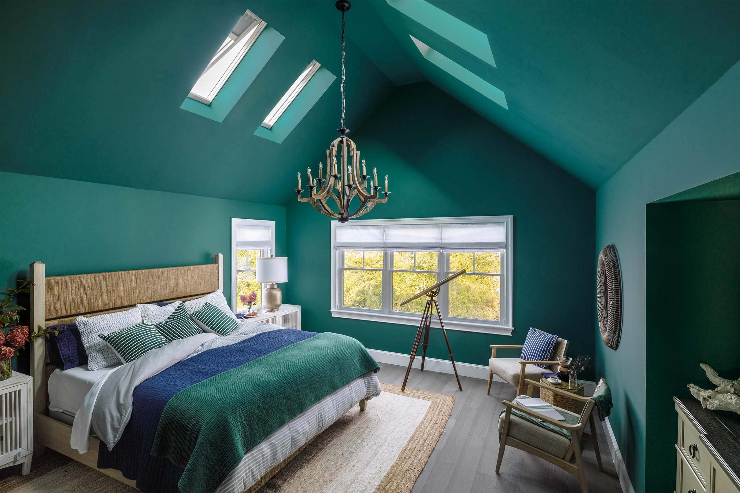 Bedroom green walls skylights
