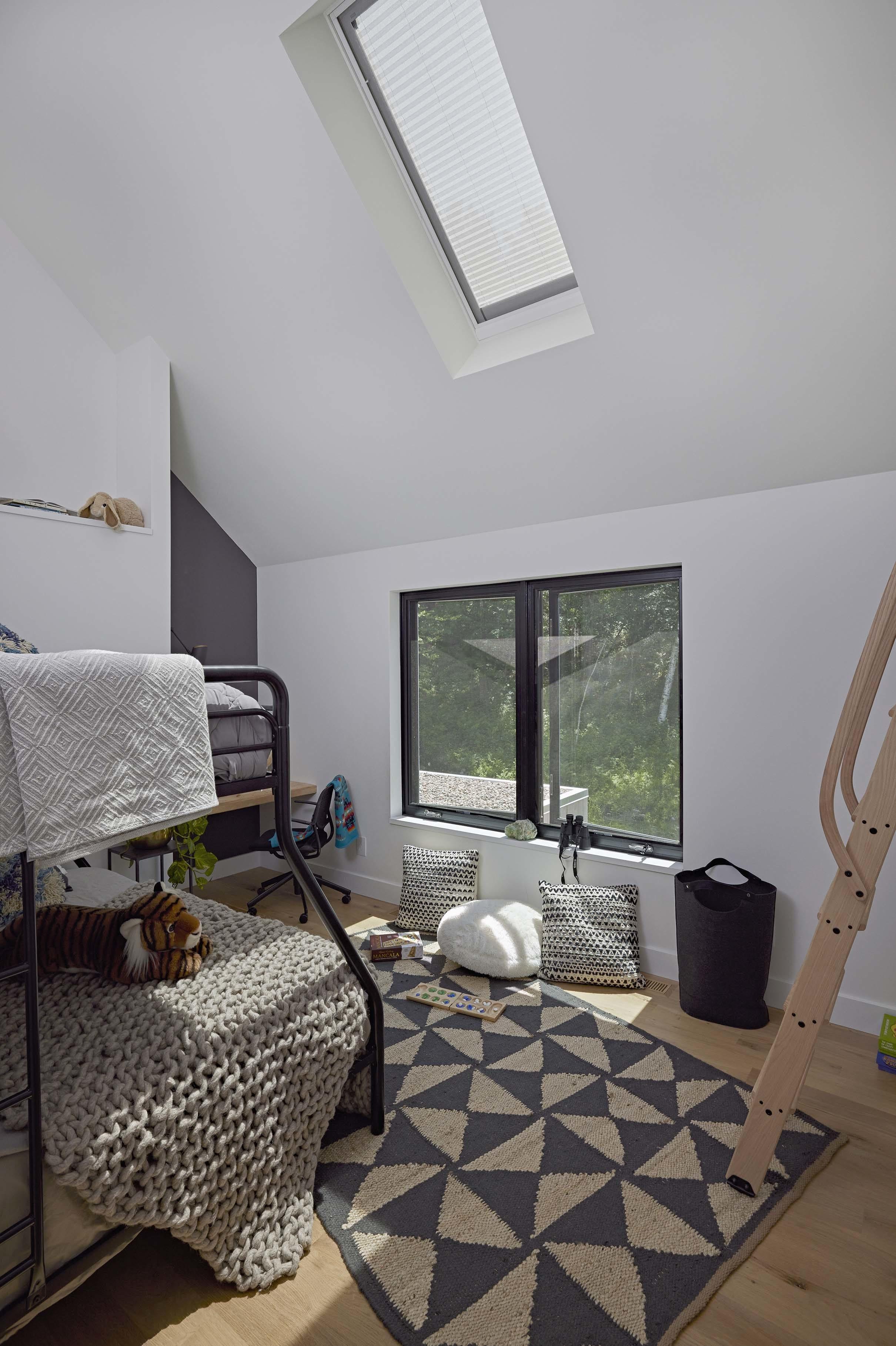 Bedroom skylight shades closed