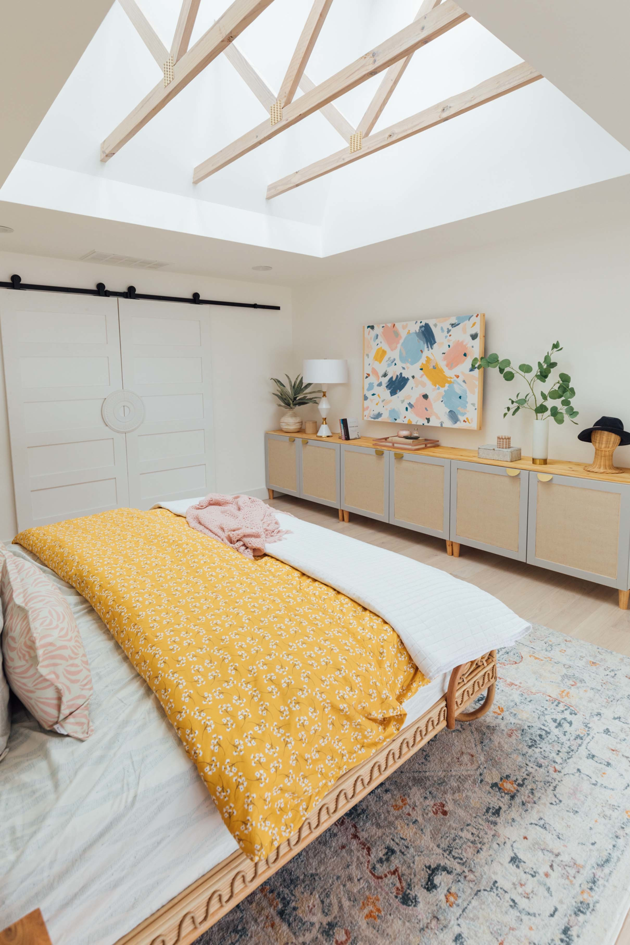 Bedroom skylights exposed trusses yellow