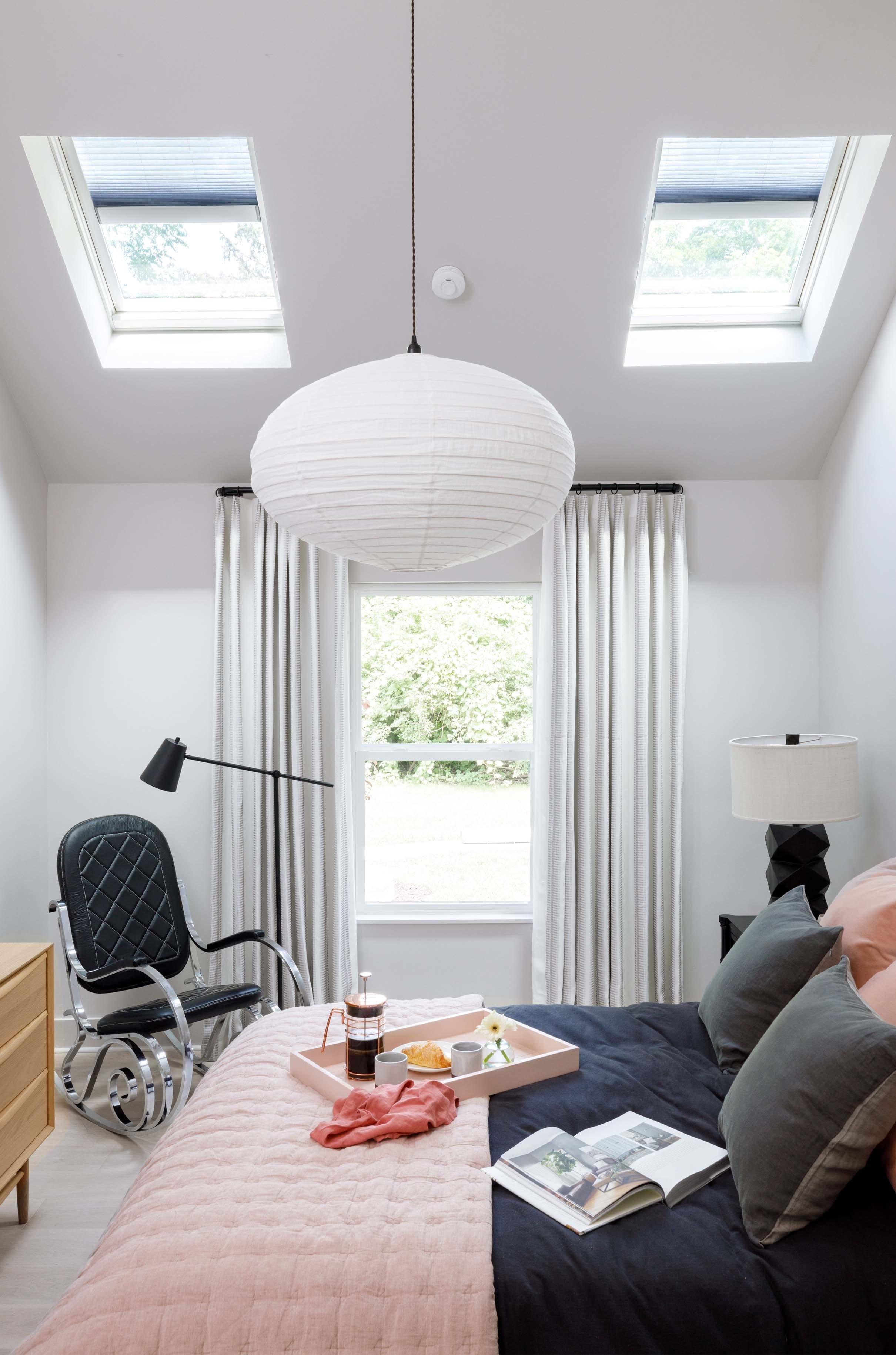 Bedroom skylights pink grey