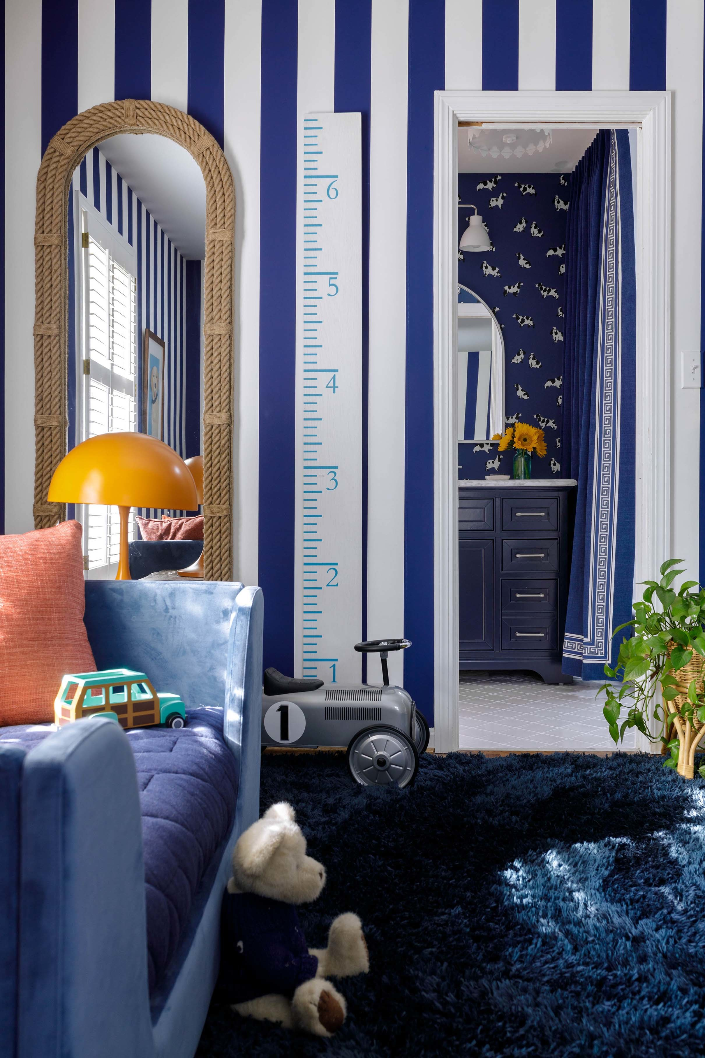 Blue striped wallpaper blue daybed