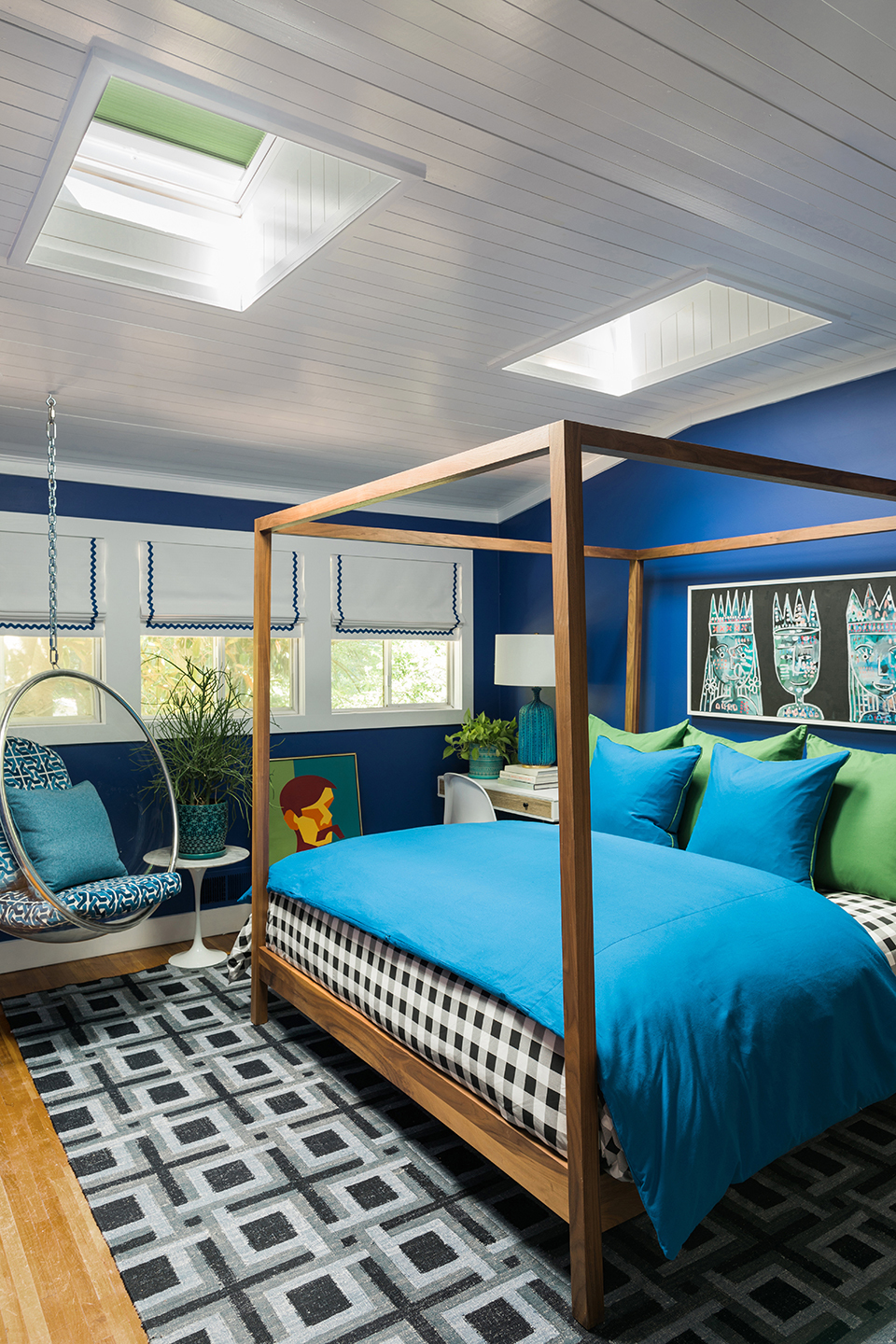 A blue and green bedroom