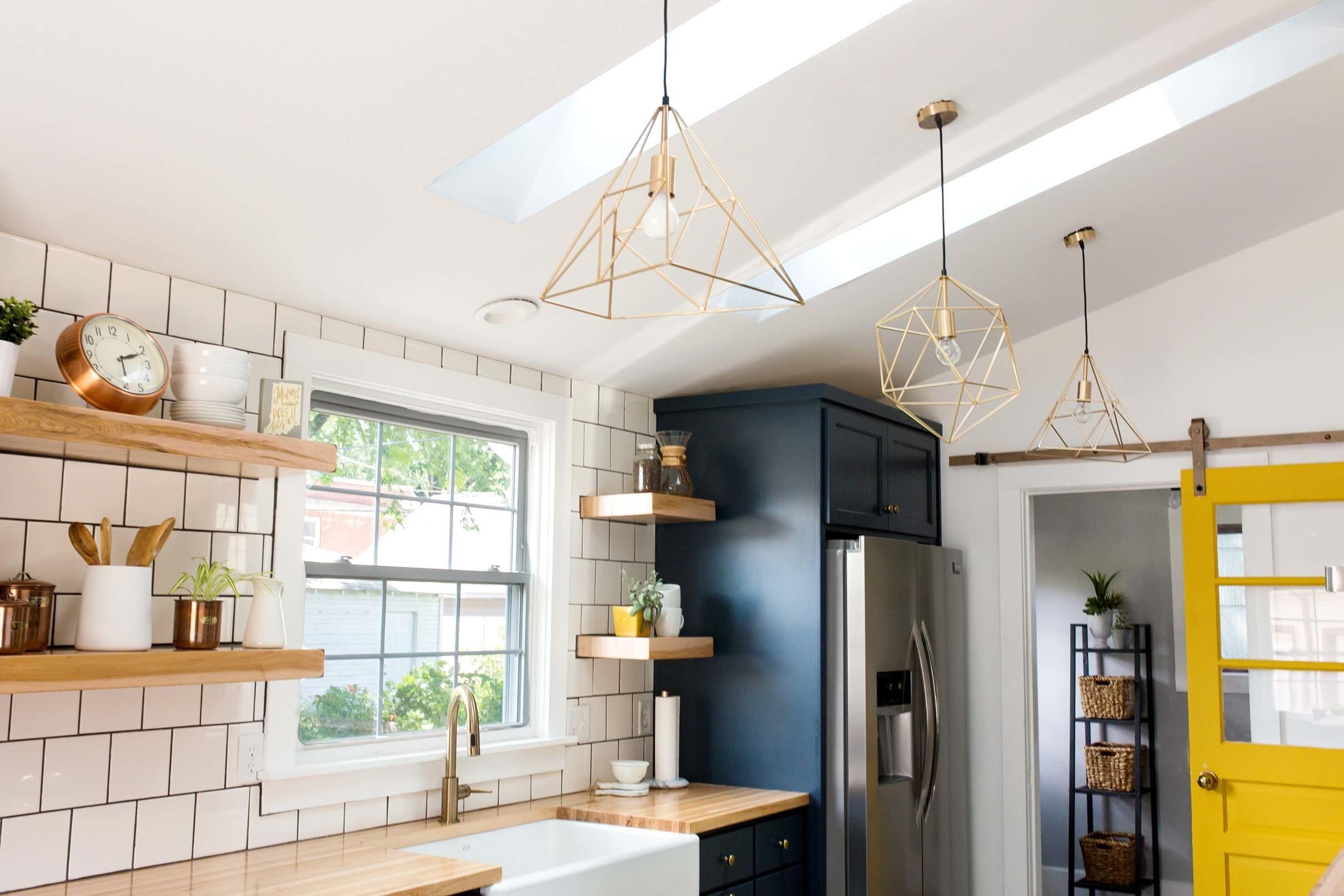 Kitchen blue cabinets yellow sliding door