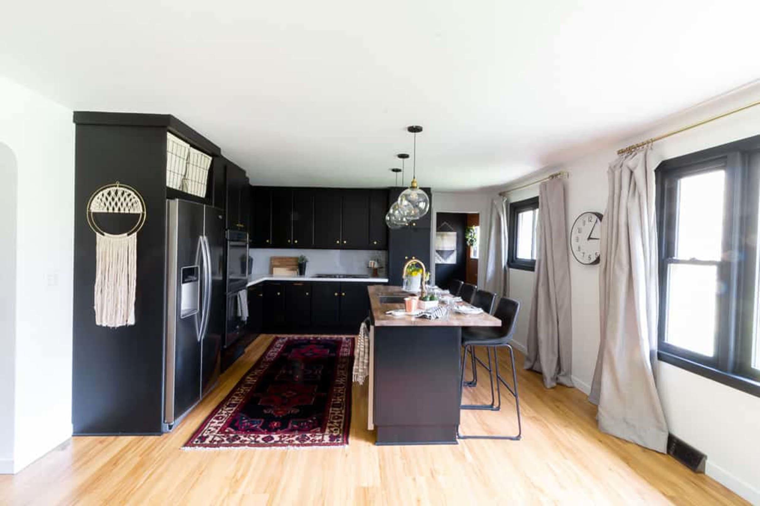 Kitchen dark black cabinets