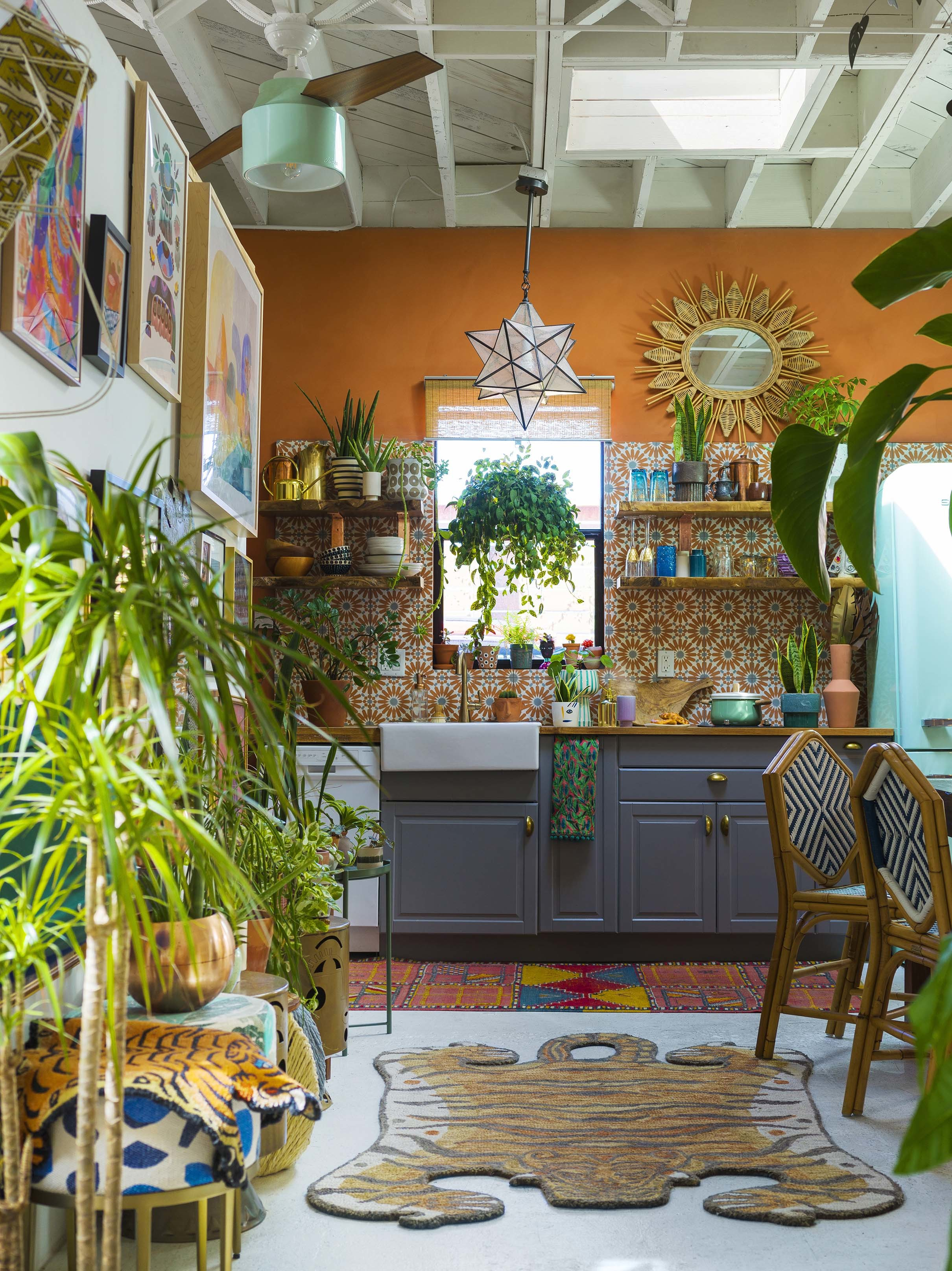 Kitchen orange teal skylight plants