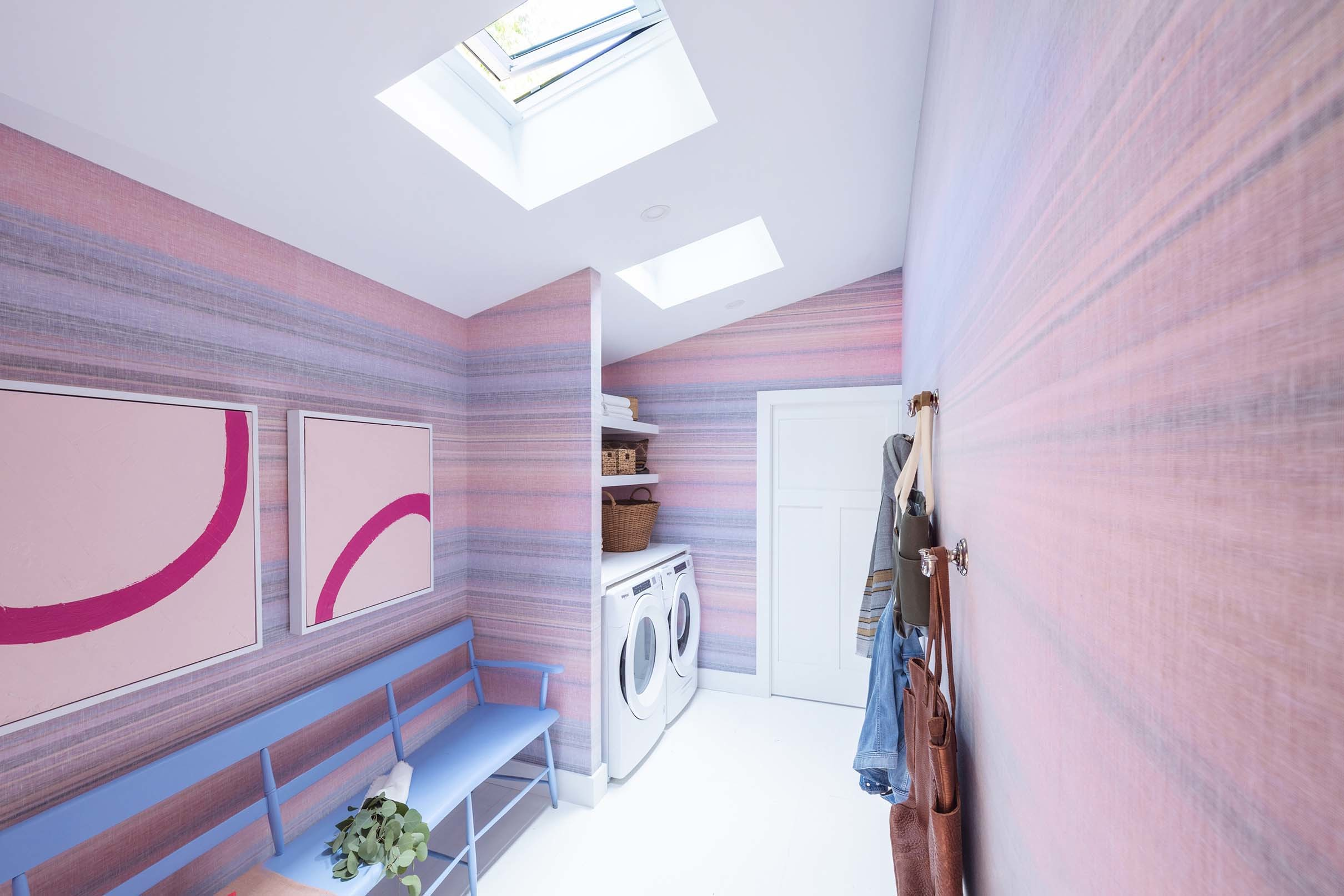 Laundry room skylights pink purple wallpaper small