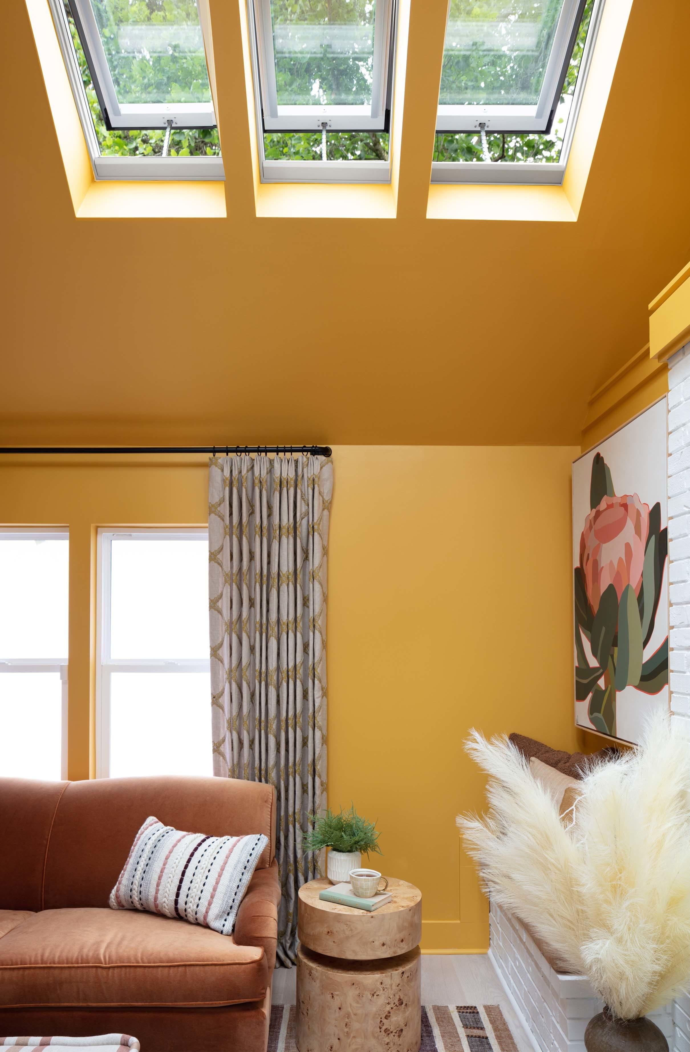 Living room skylight botanical art