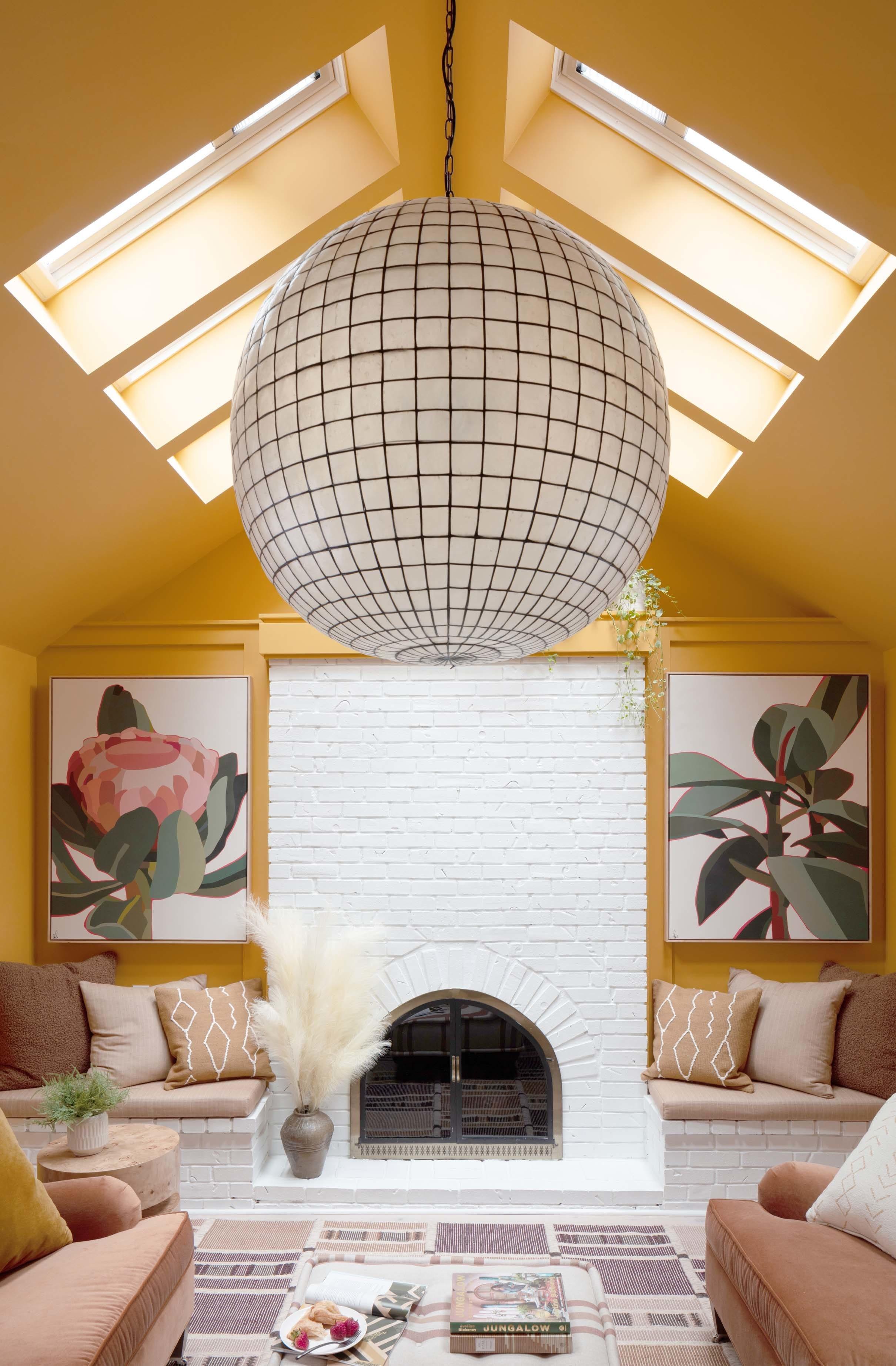 Living room skylights yellow walls