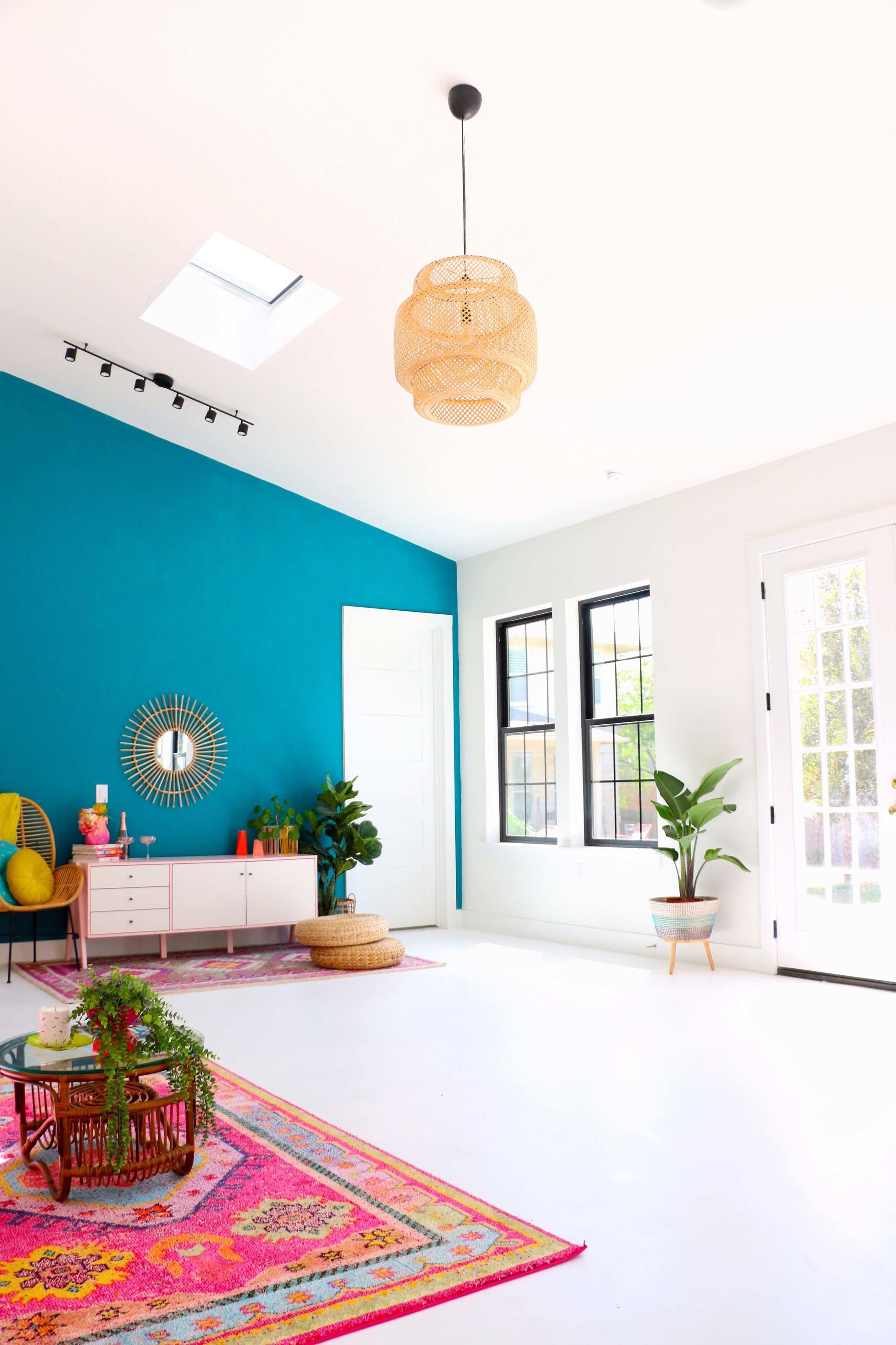 Living room white pink aqua skylight