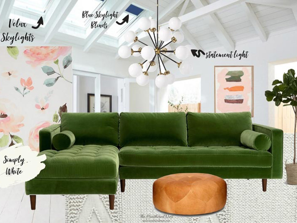 A mood board that includes a green sofa, skylights and plants for a living room.