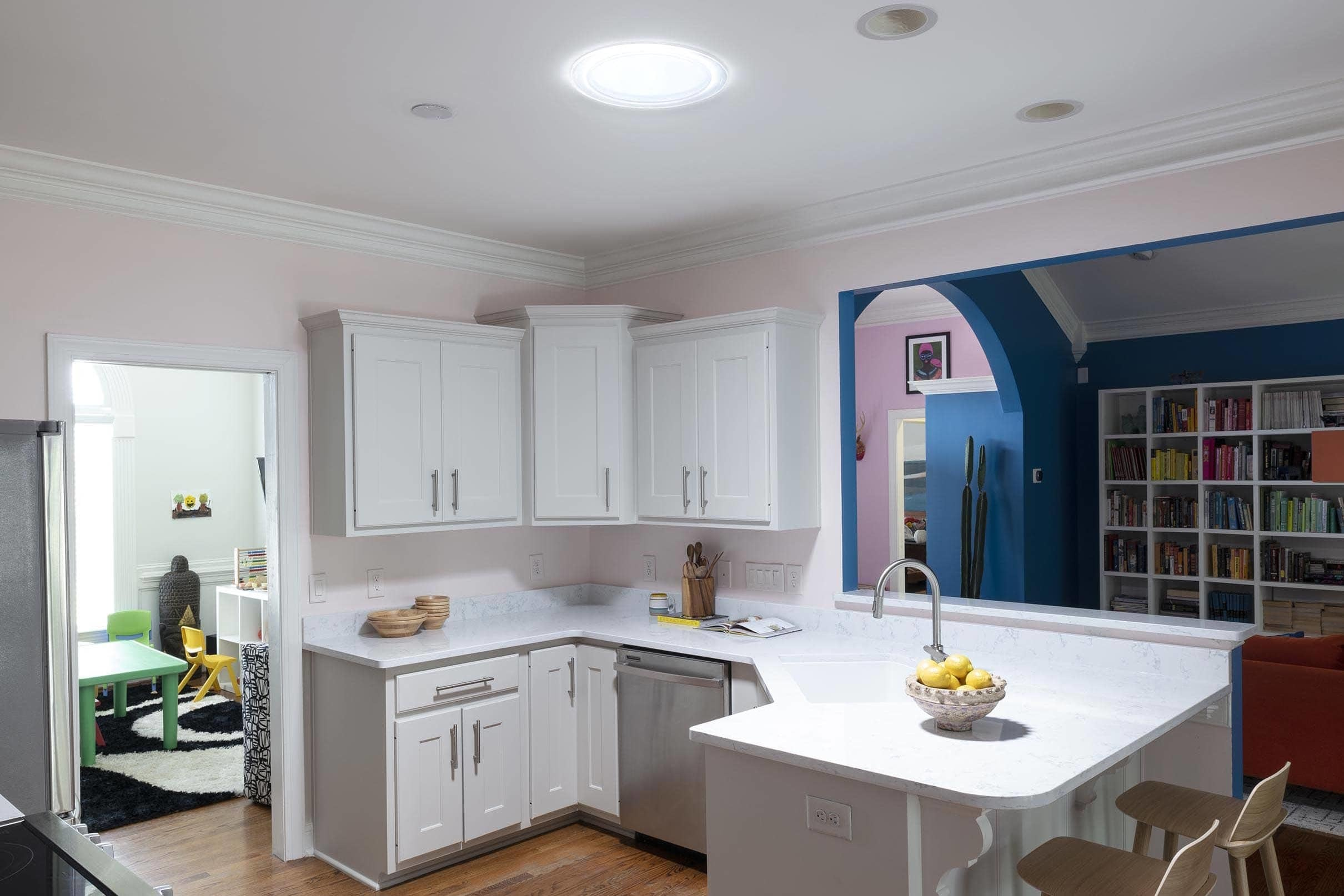 Pink kitchen blue living room small