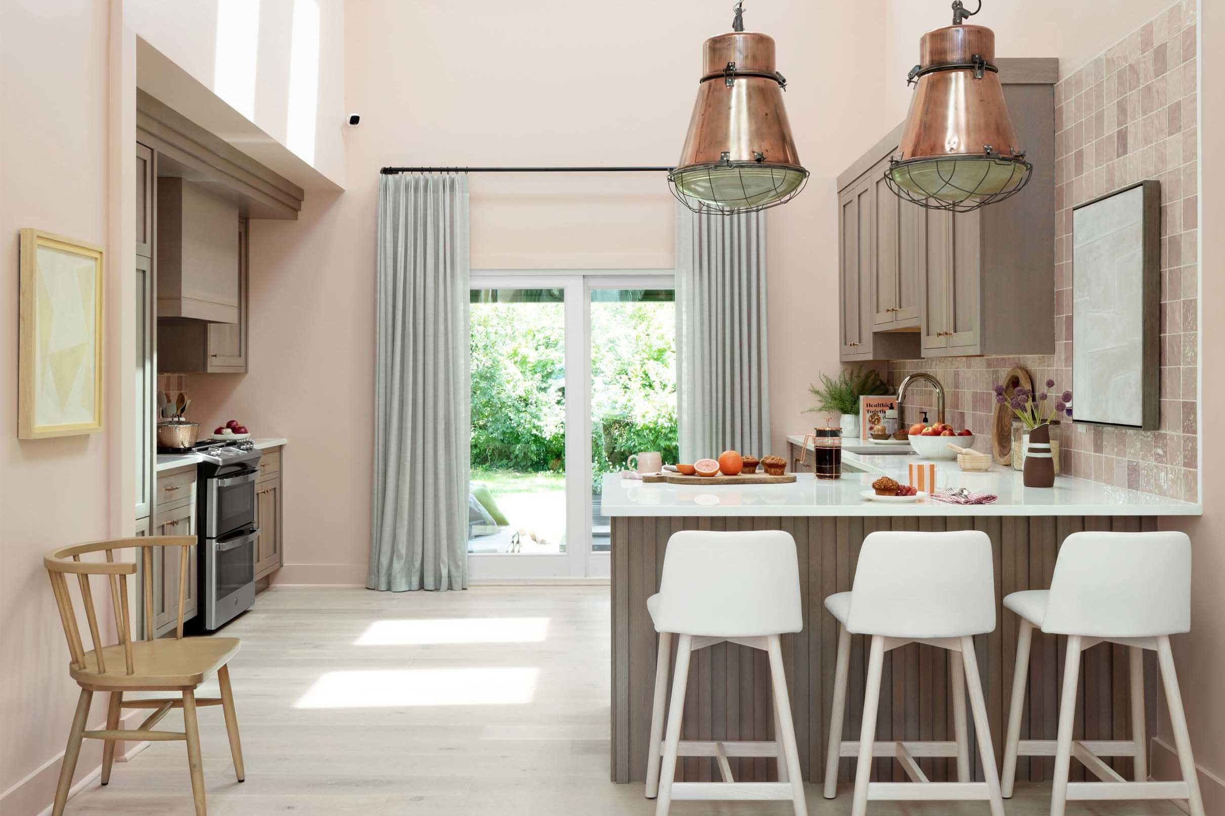 Pink kitchen skylights grey cabinets small
