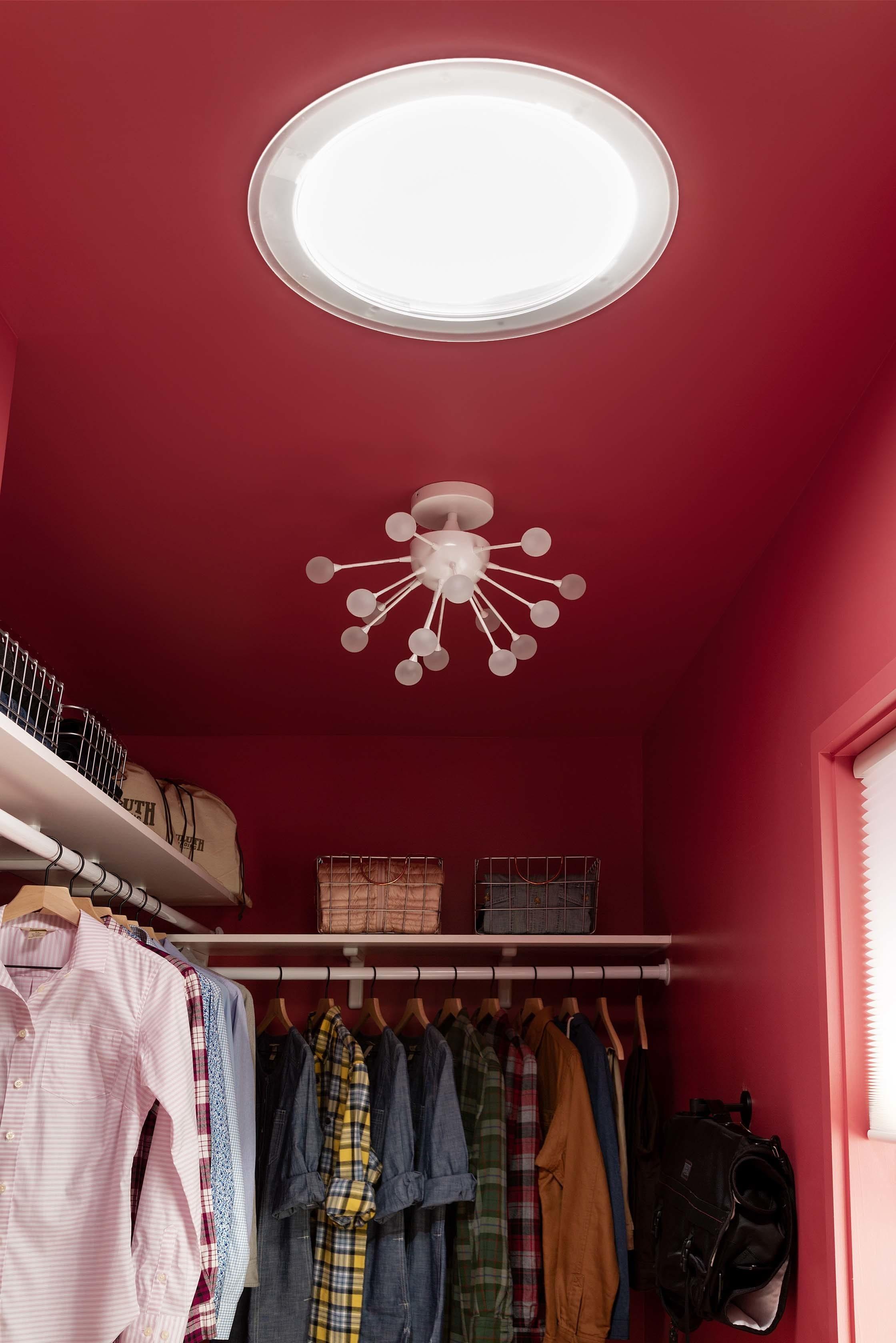 Pink walk in closet sun tunnel
