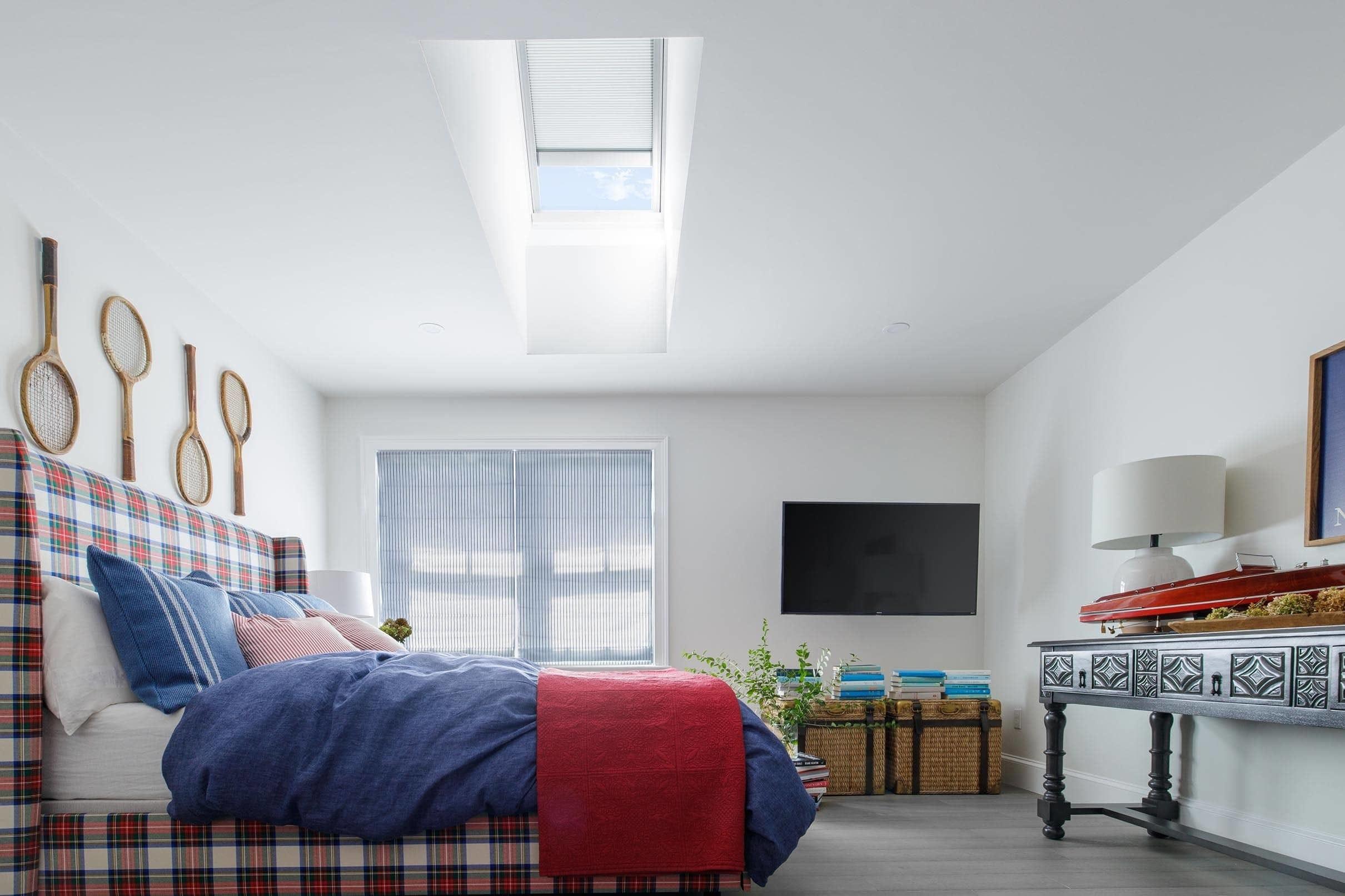 Plaid bedroom skylight