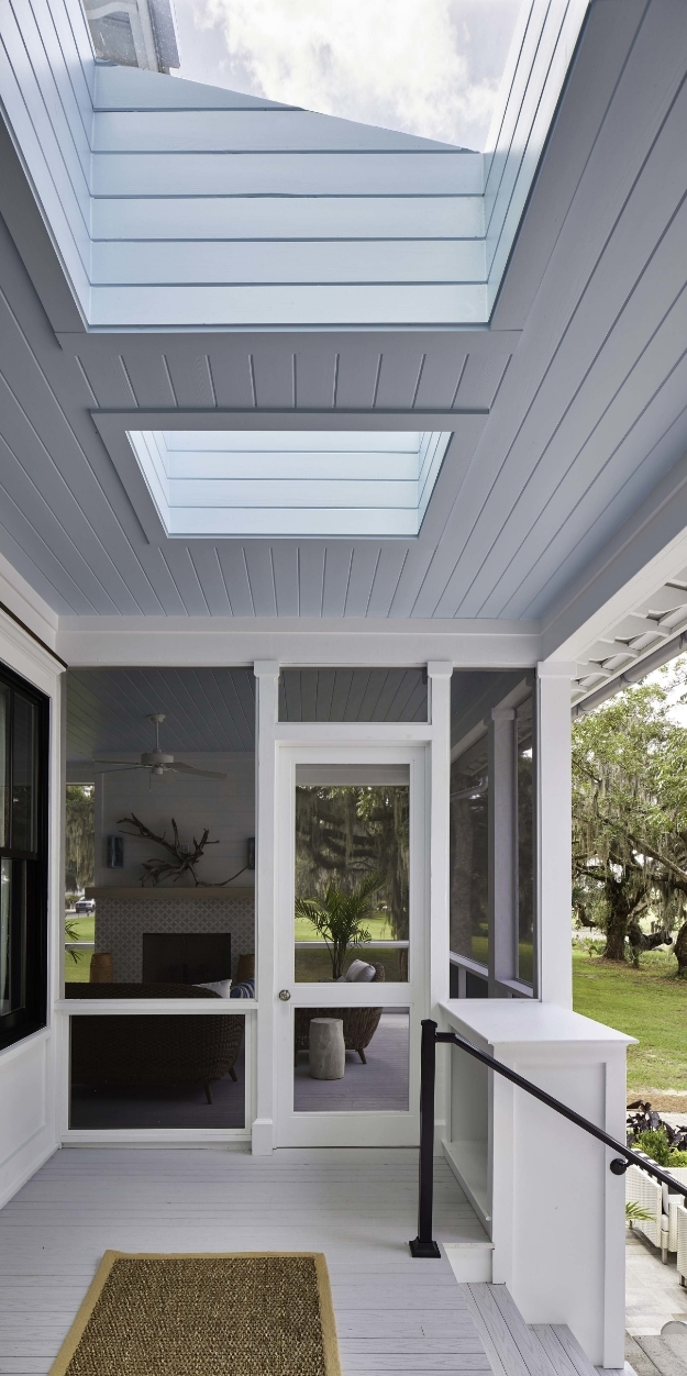 Porch skylights blue ceiling