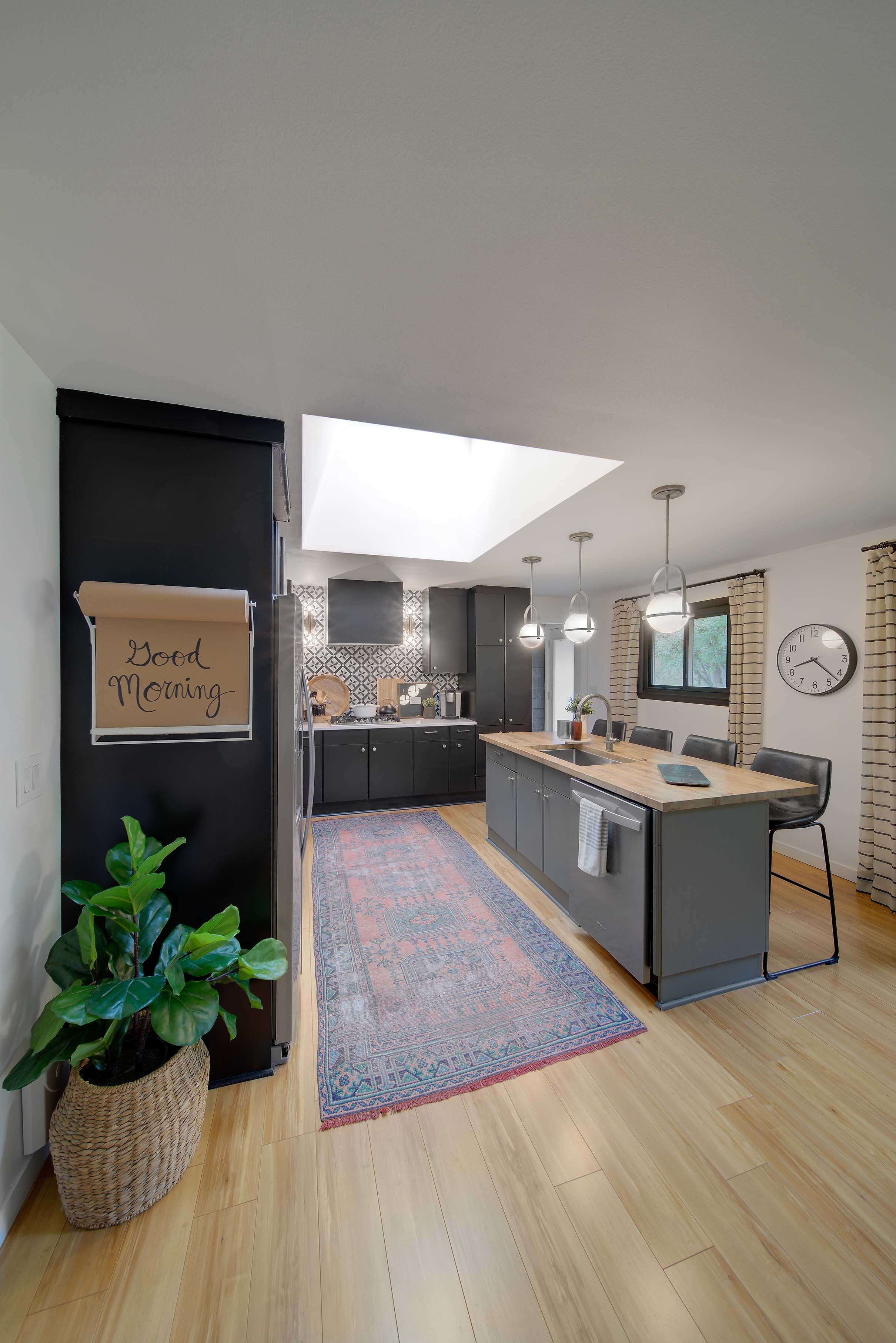 Skylights flat ceiling kitchen two tone cabinets island