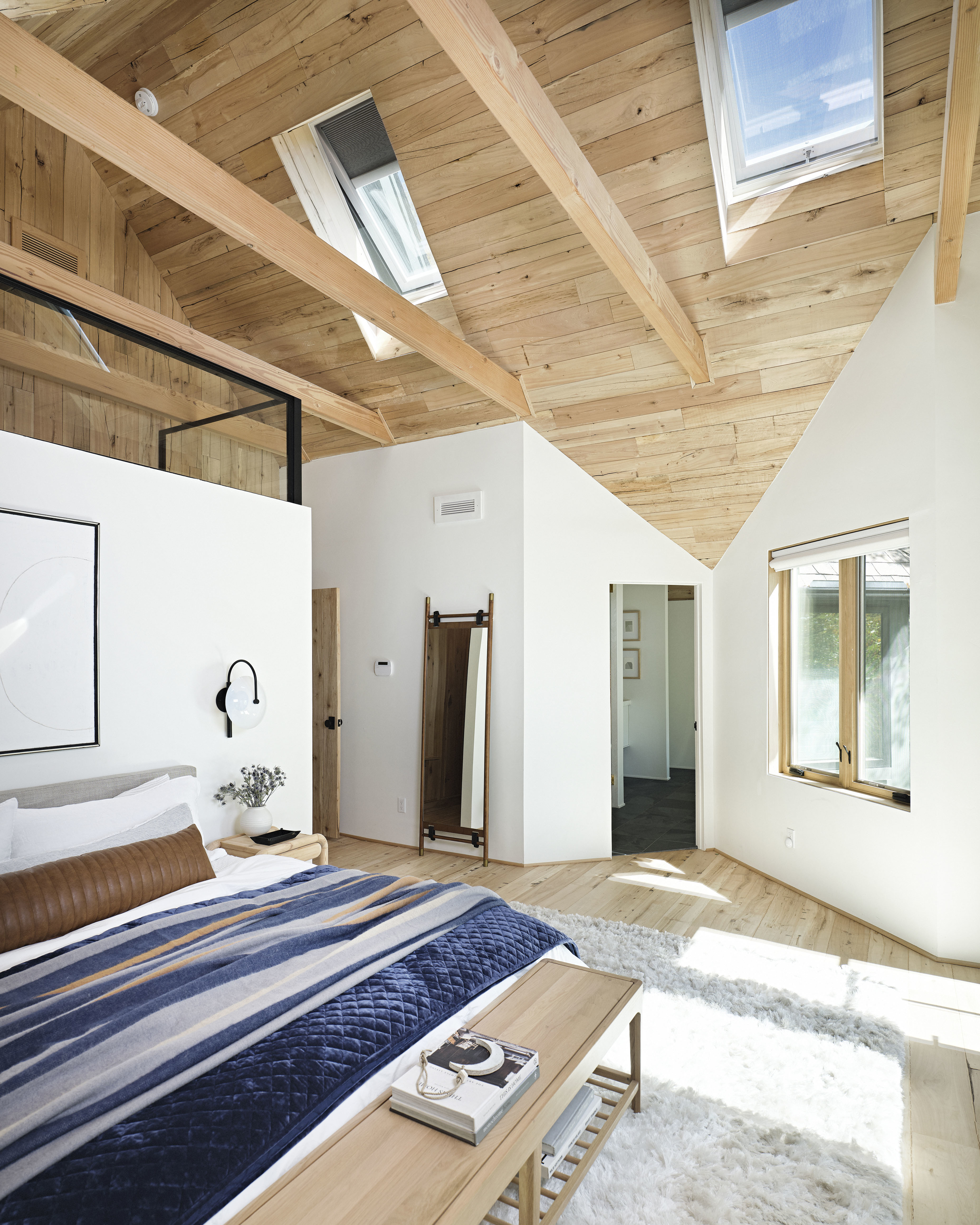 Bedroom Layered Bed Skylights Feat
