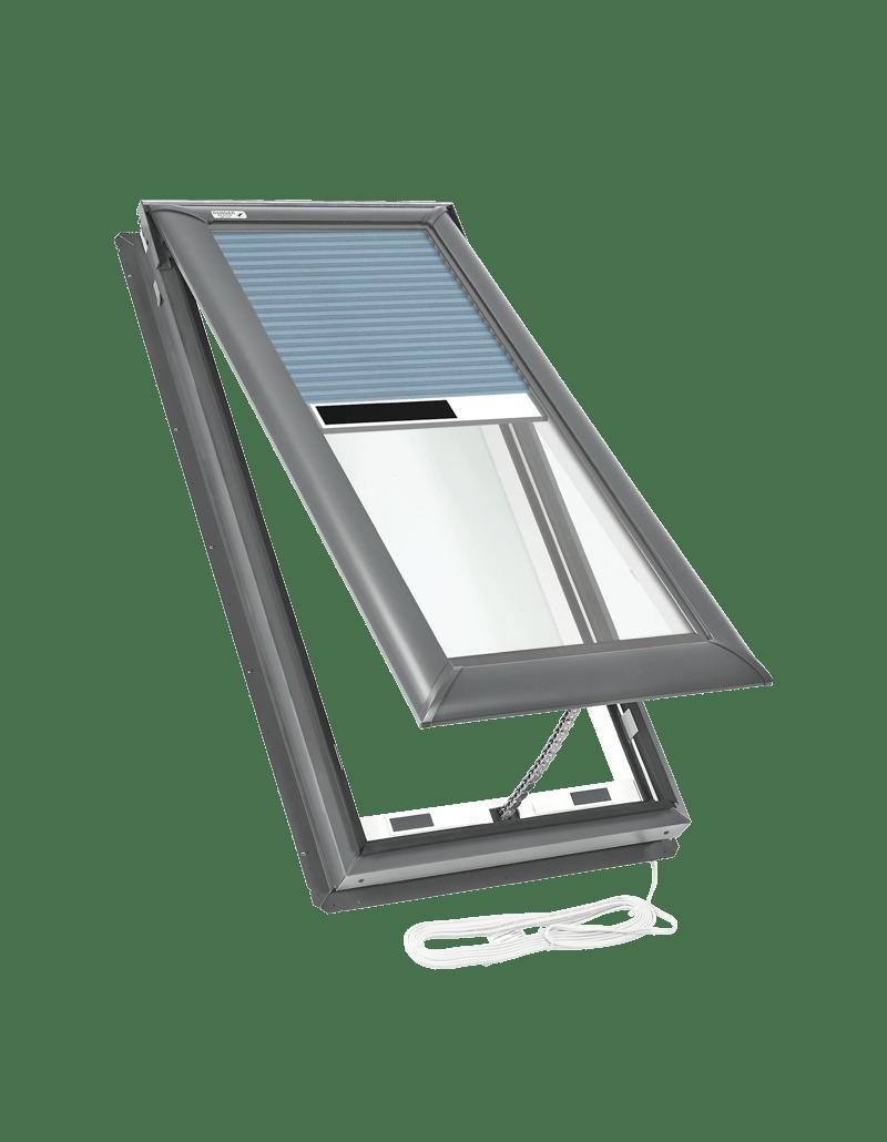 Electric fresh air skylights blue blinds