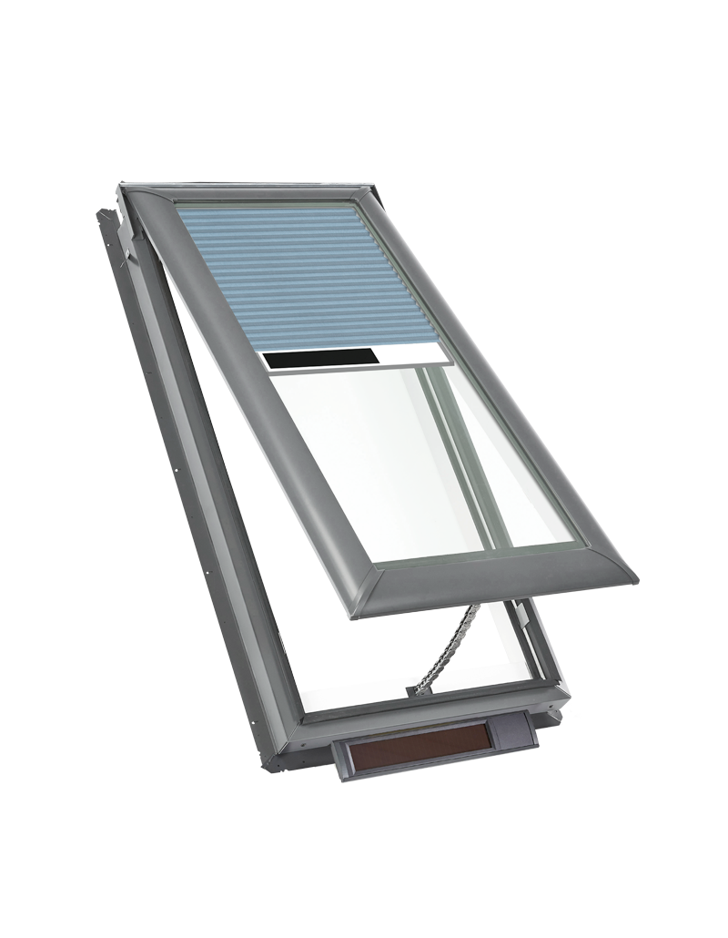 Solar powered fresh air skylights blue blinds
